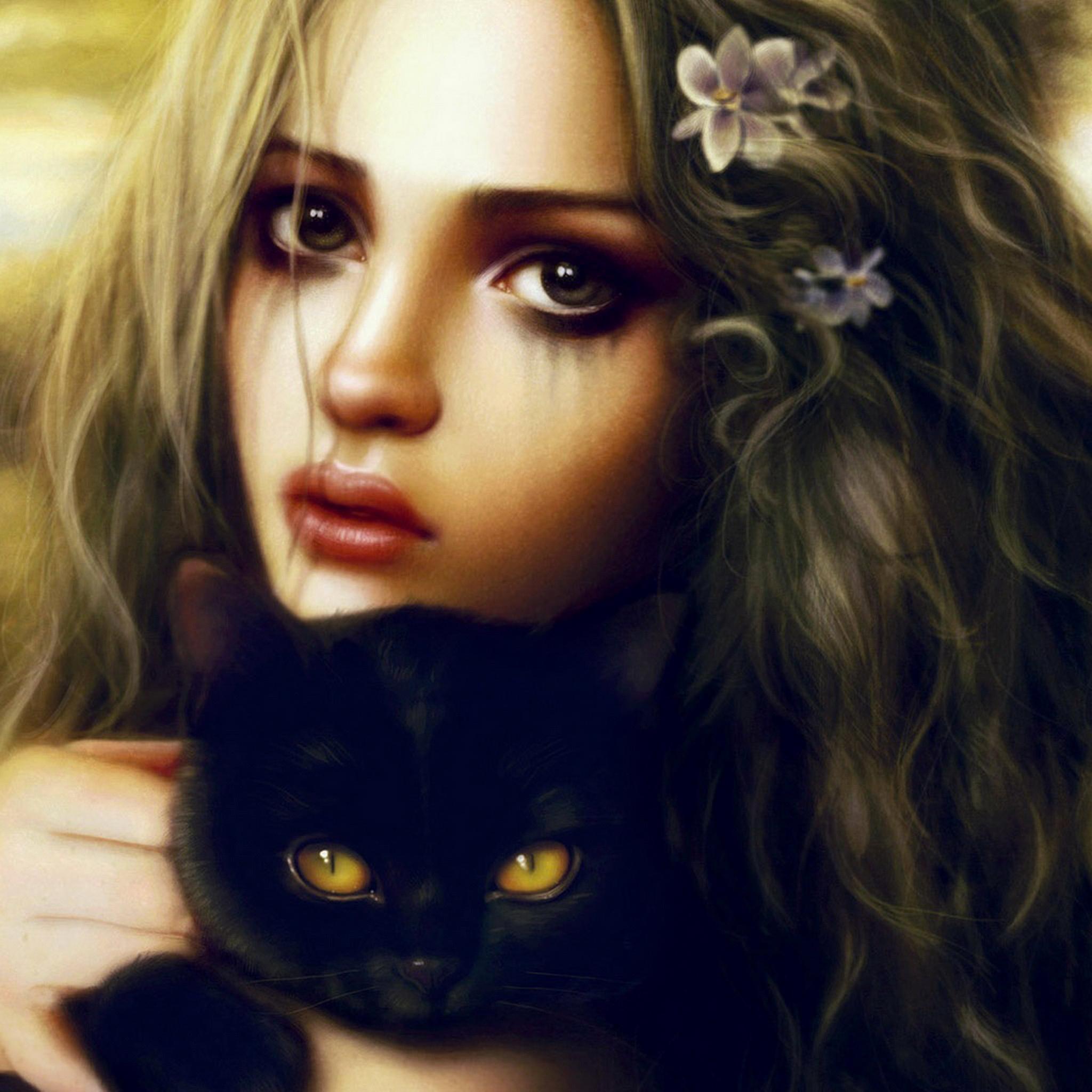 Girl ans Cat 3Wallpapers ipad Retina Girl and Cat   iPad Retina
