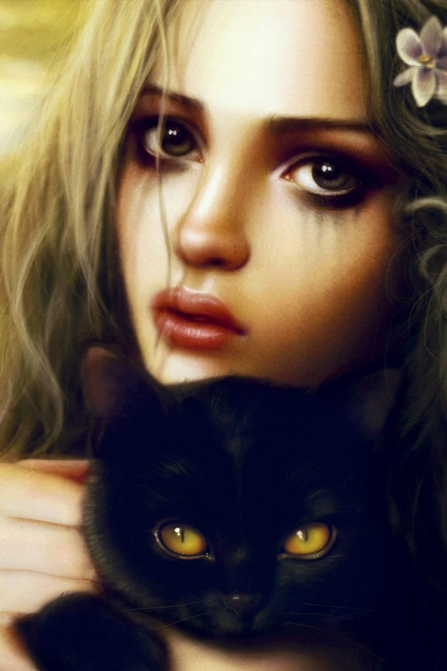 Girl ans Cat 3Wallpapers Girl and Cat