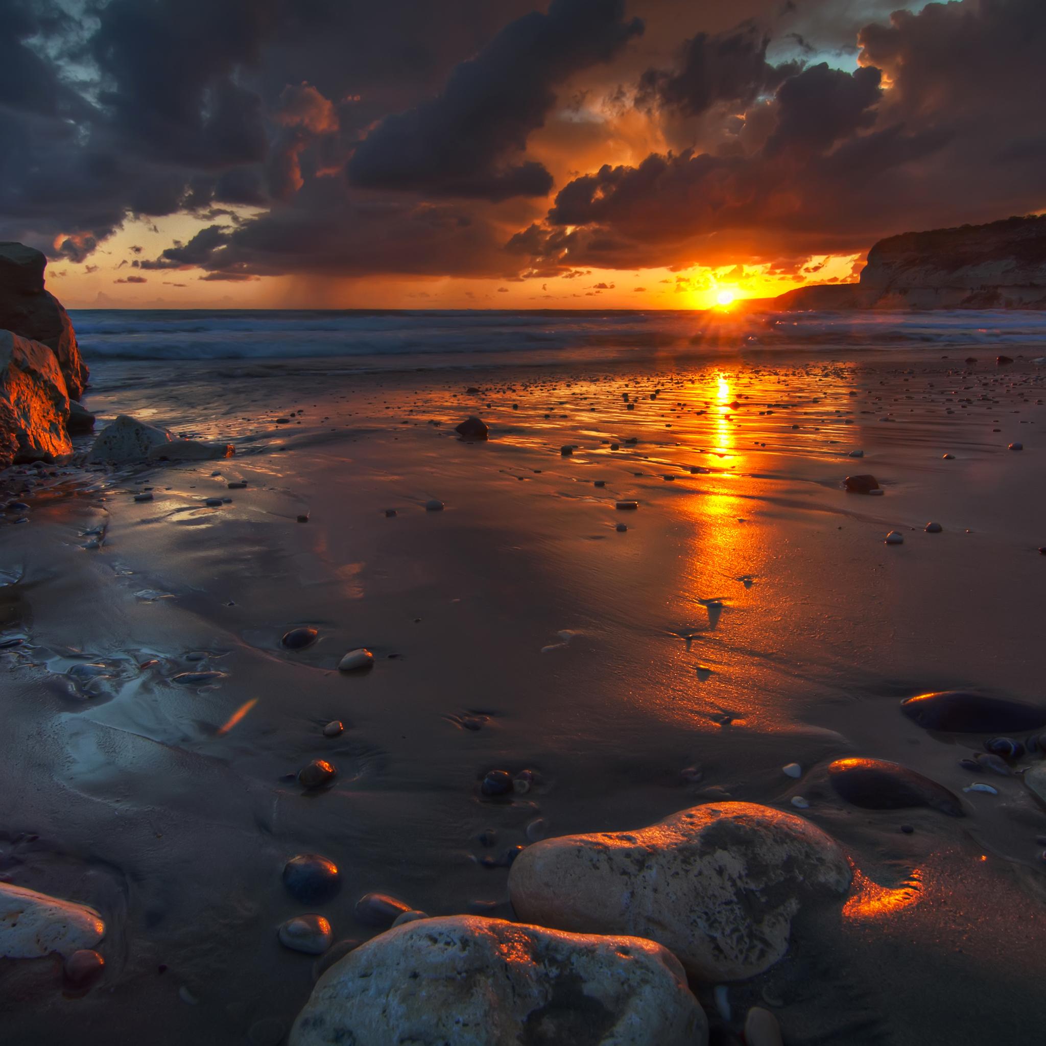 берег волна закат сумерки скачать