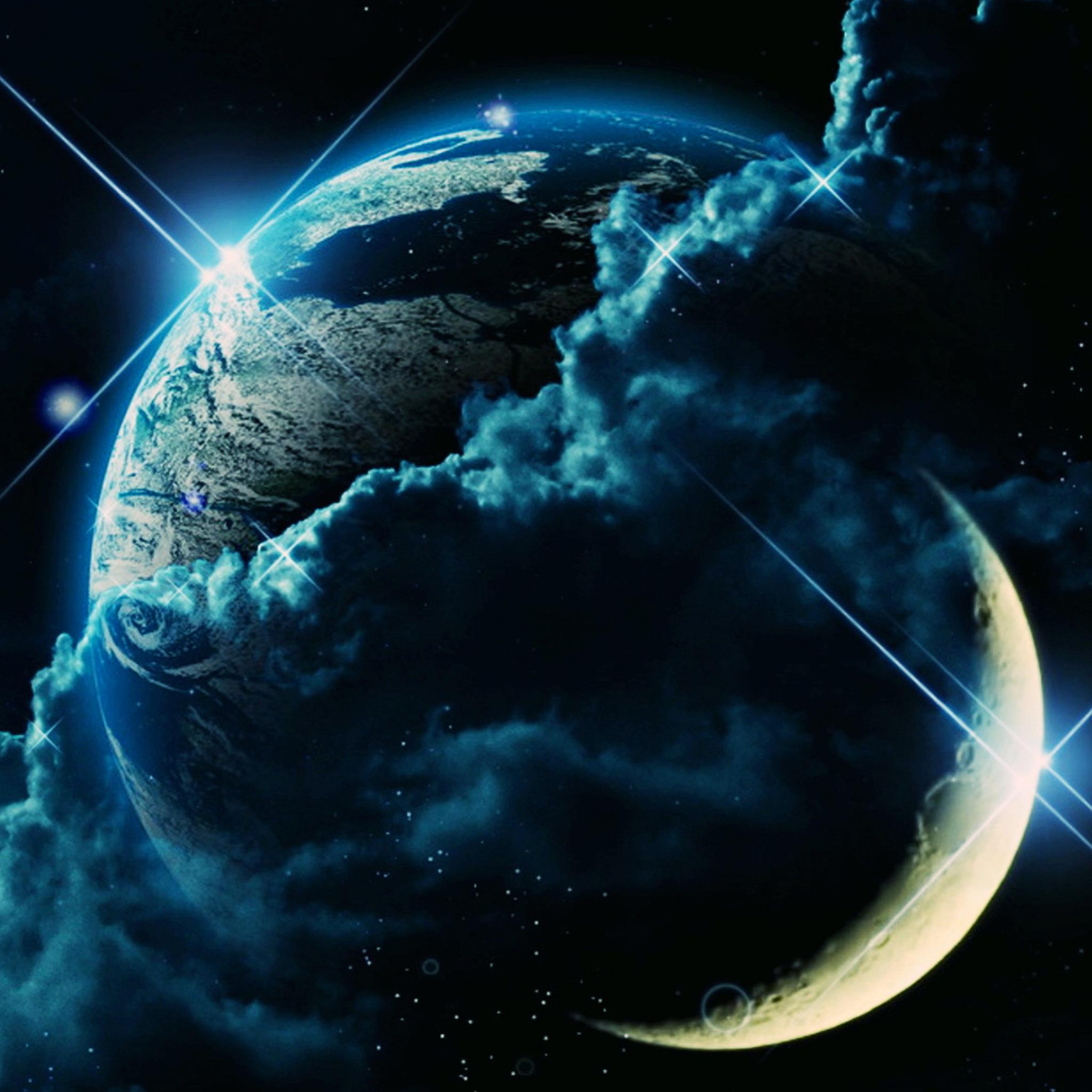 Ertha in Moon 3Wallpapers iPad Retina Earth in Moon   iPad Retina