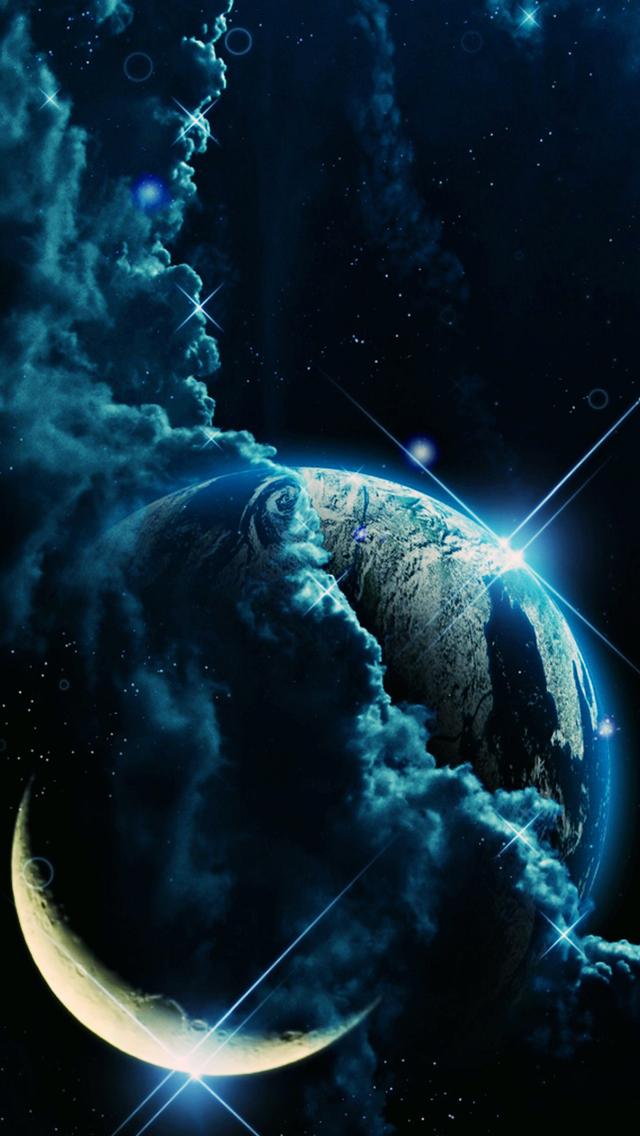Ertha in Moon 3Wallpapers iPhone 5 Earth in Moon