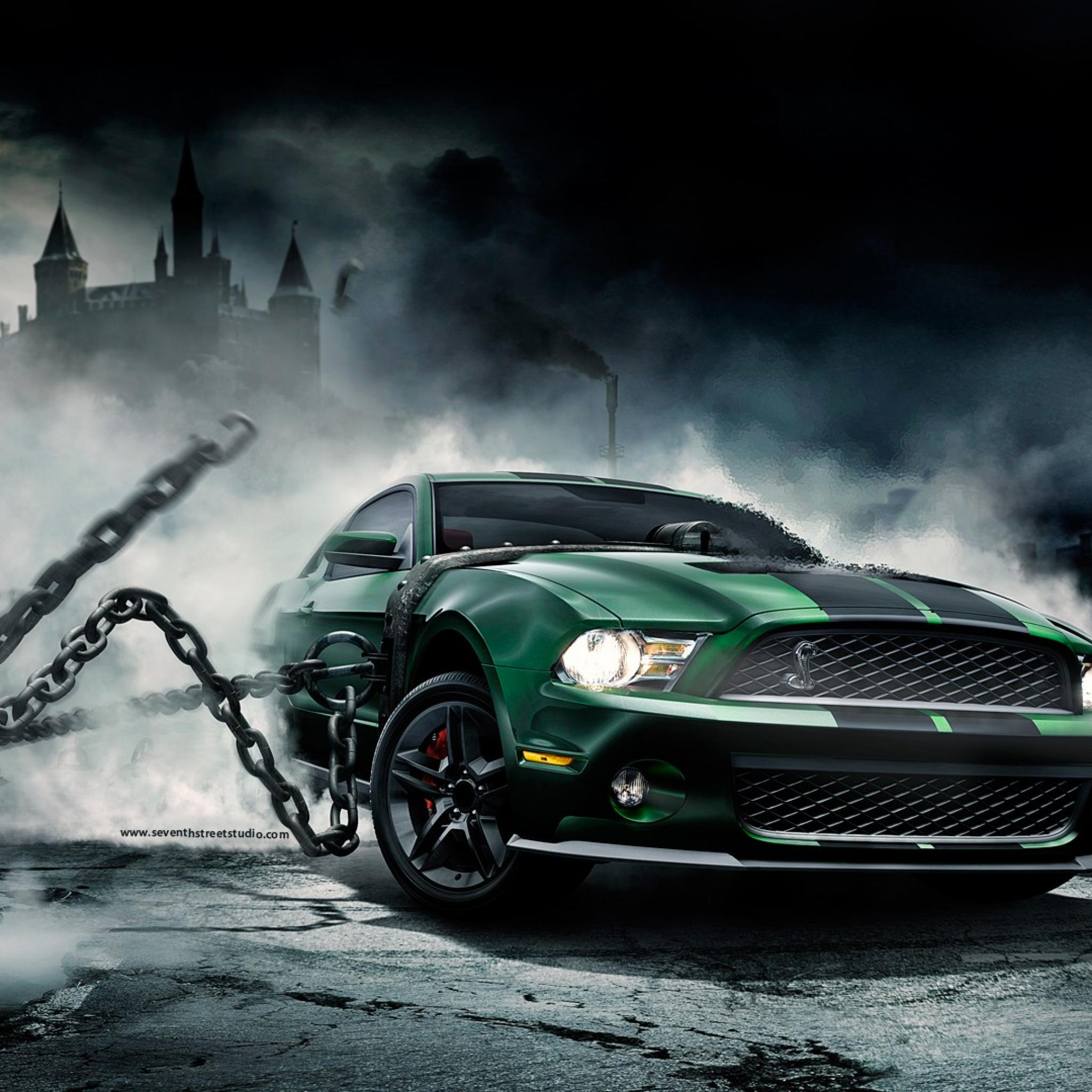 Green-Mustang-3Wallpapers-iPad-Retina