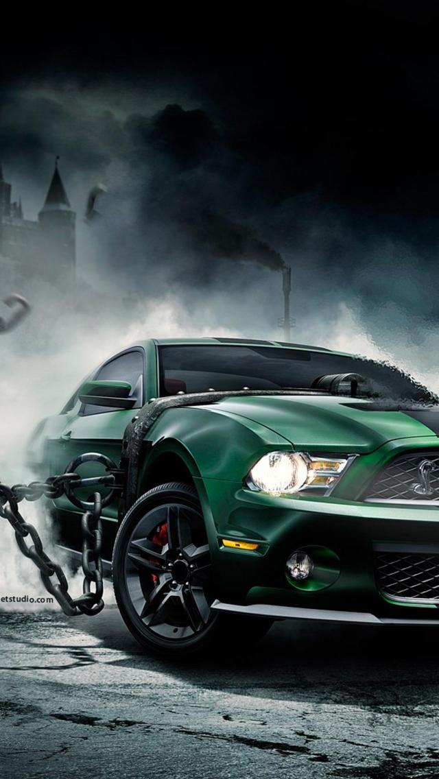Green-Mustang-3Wallpapers-iPhone-5