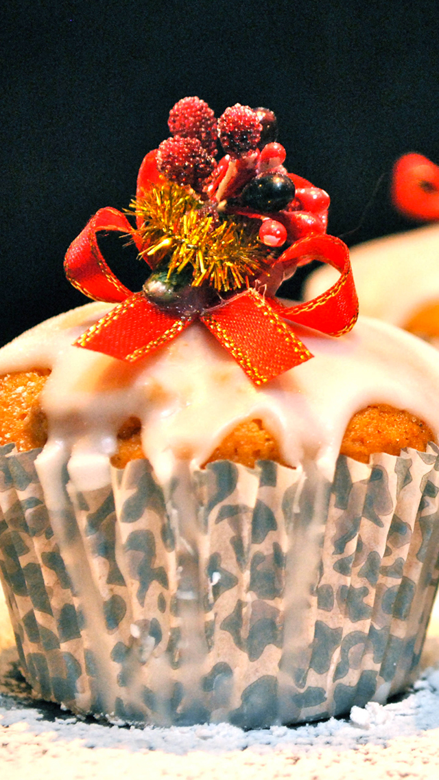 Christmas CupCake 3Wallpapers iPhone 5 Christmas CupCake