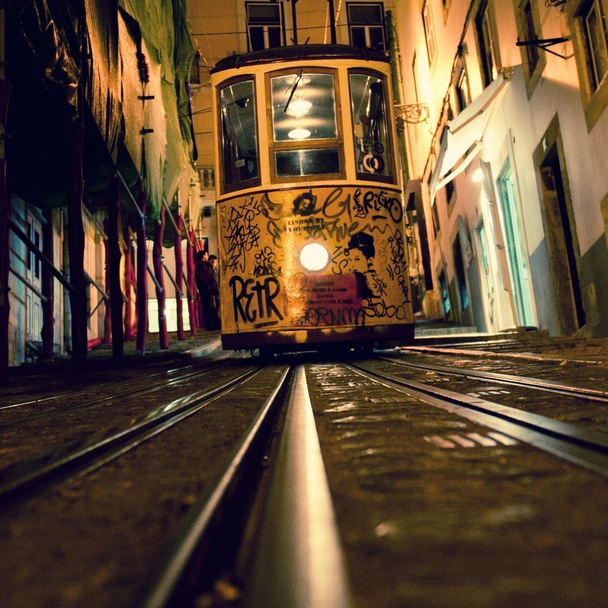 Tram Rails Night City Street 3Wallpapers iPad Tram Rails Night City Street   iPad