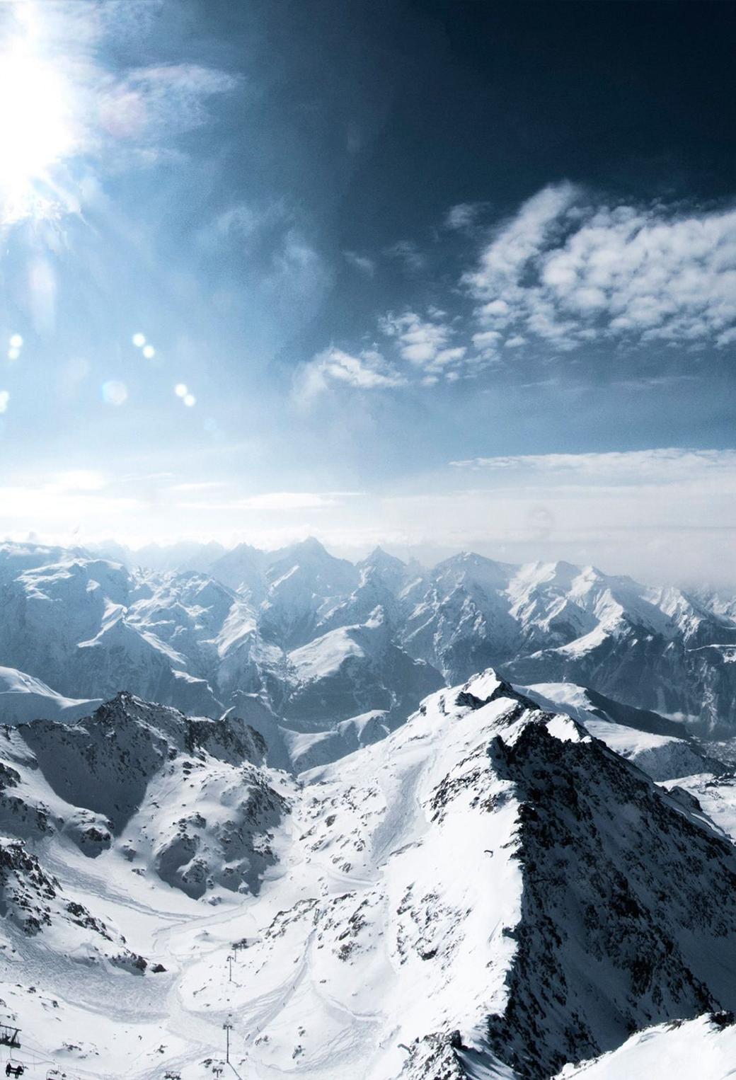 Mountain Snow 3Wallpapers iPhone Paralalx Mountain Snow