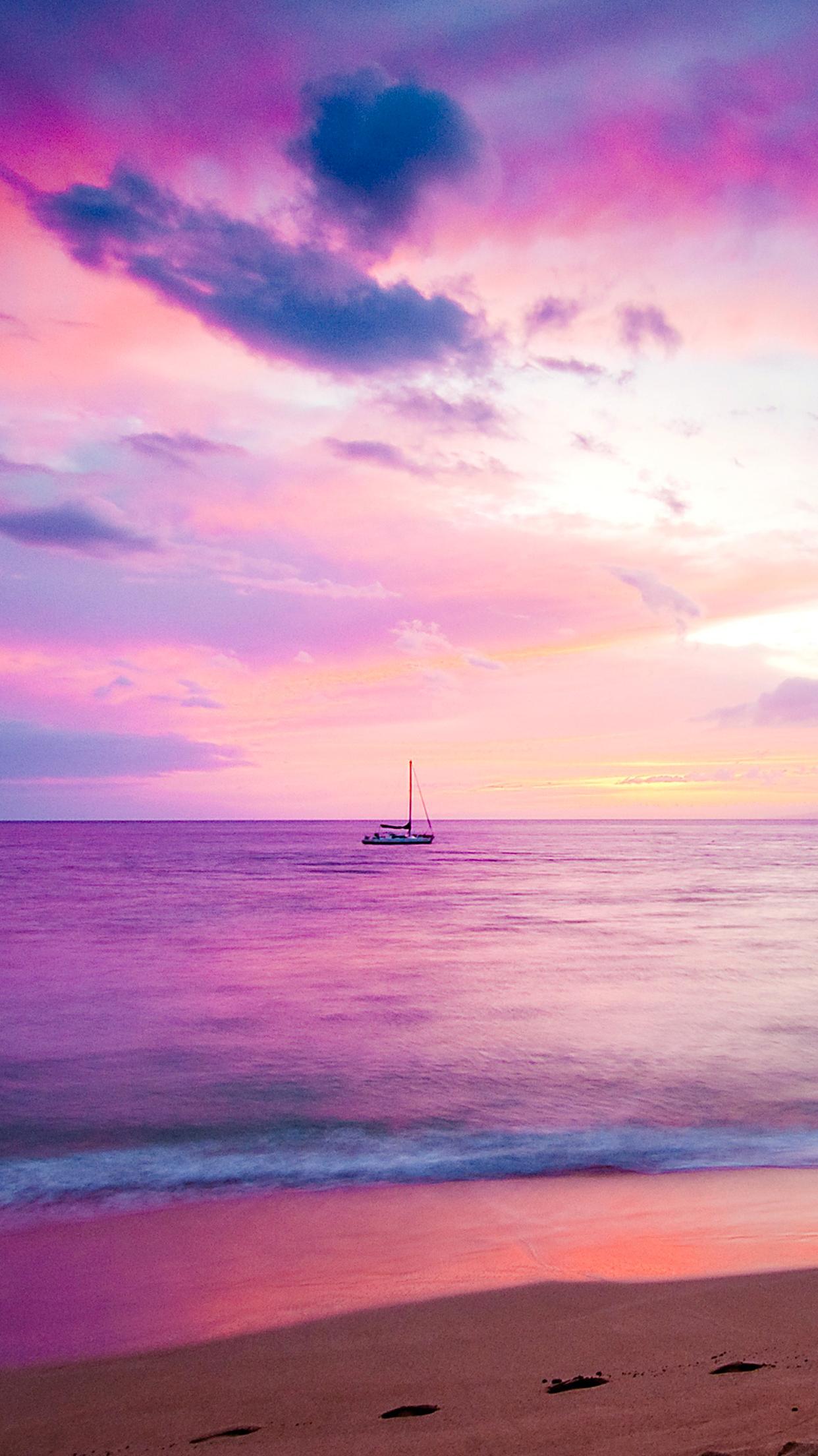 Lavender Seashore 3Wallpapers iPhone Parallax Lavender Seashore