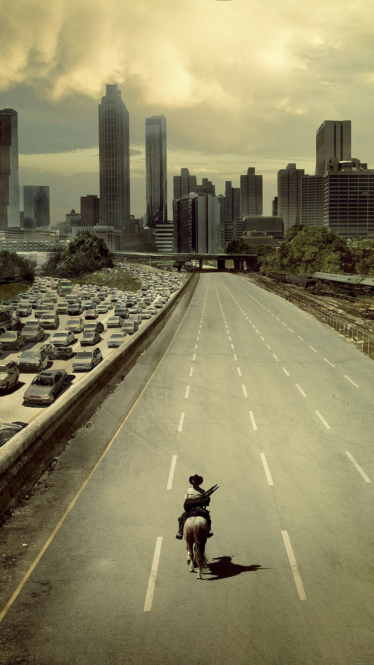 The walking dead city iPhone 3Wallpapers Parallax The Walking Dead city