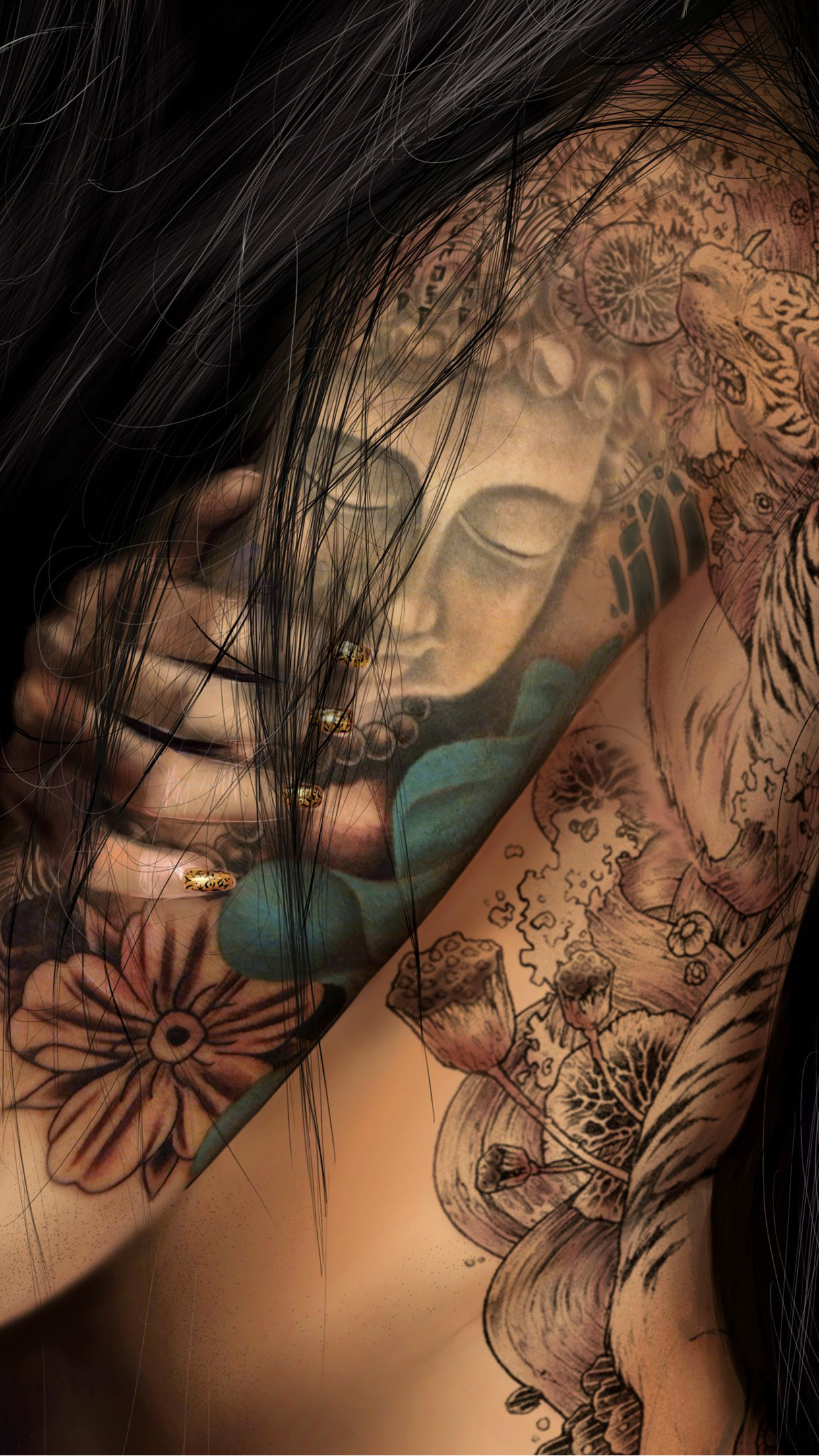 Girl Tattoo iPhone 3Wallpapers Parallax Girl Tattoo
