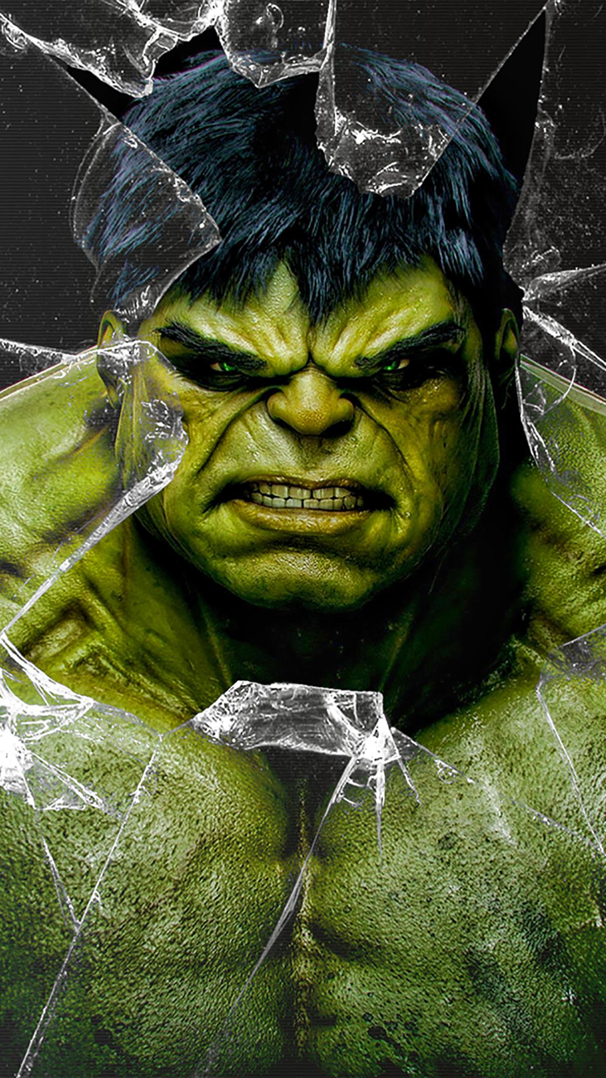 hulk broken glass wallpaper for iphone x 8 7 6 free