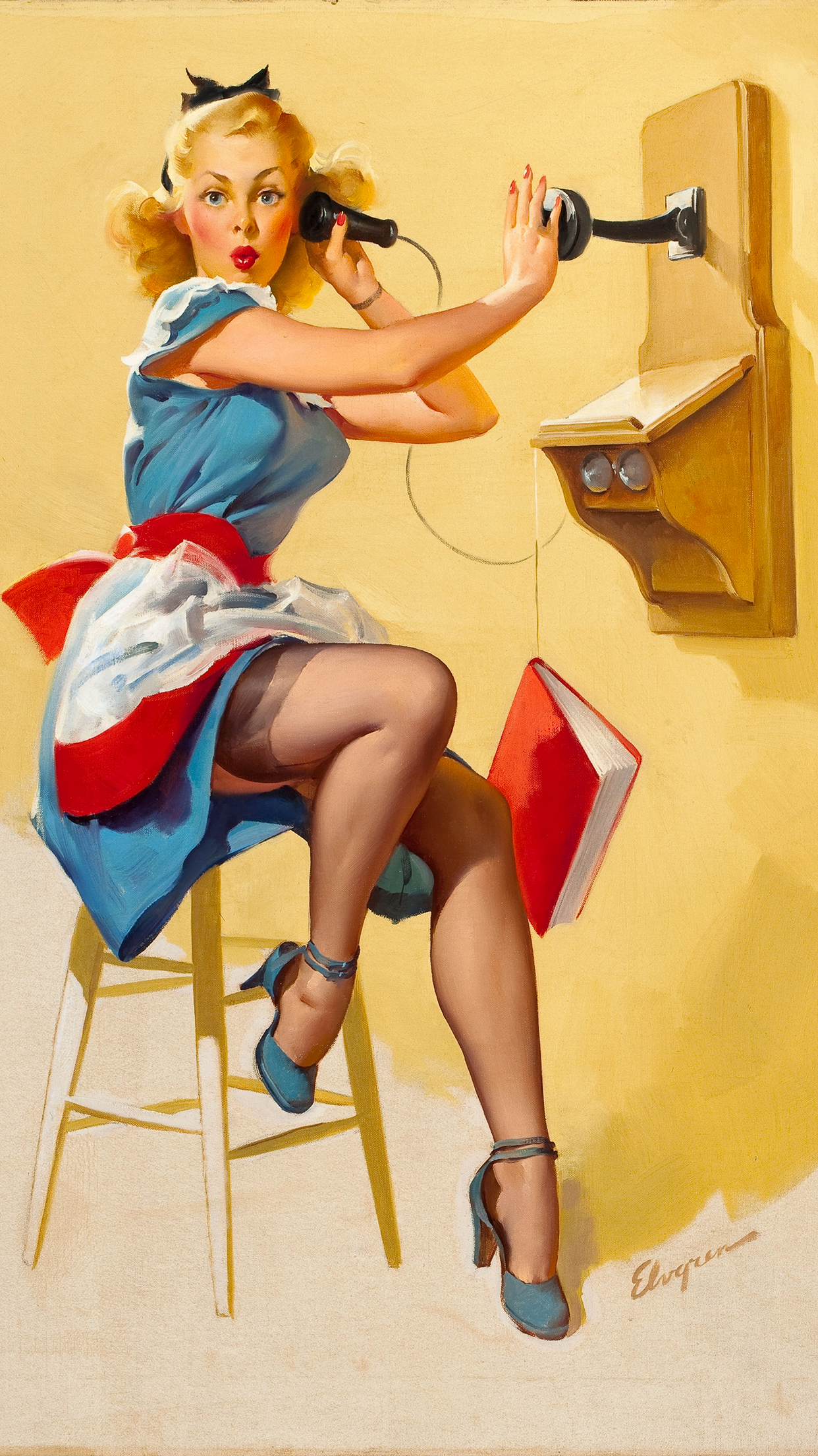 Pin Up Painting iPhone 3Wallpapers Parallax Pin Up Painting