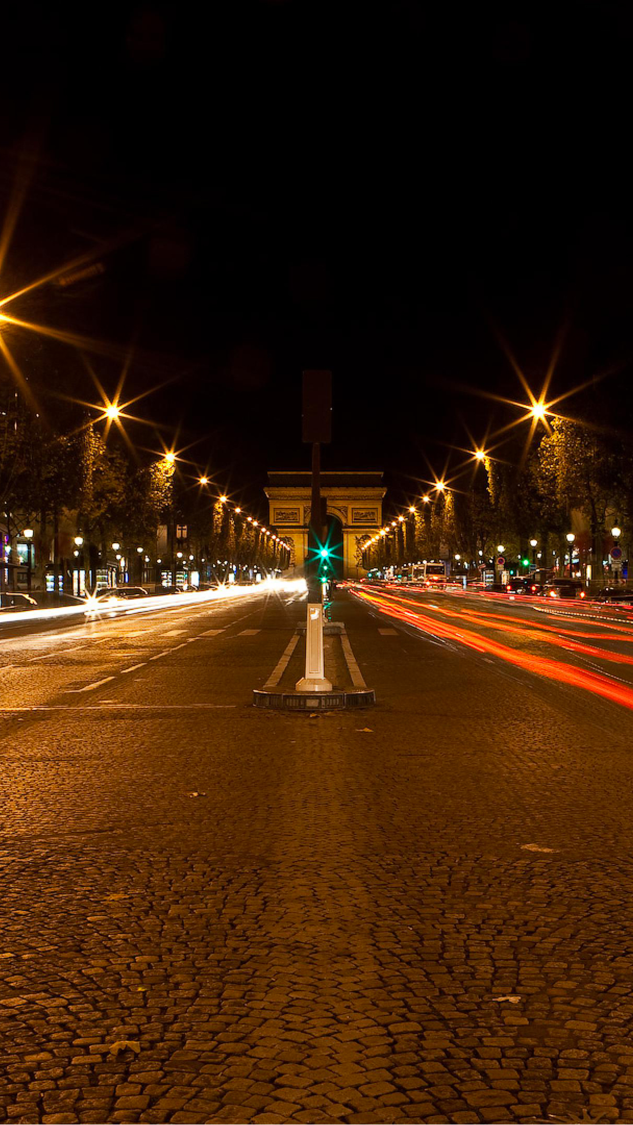 Paris By Night Road Wallpaper For Iphone X 8 7 6 Free