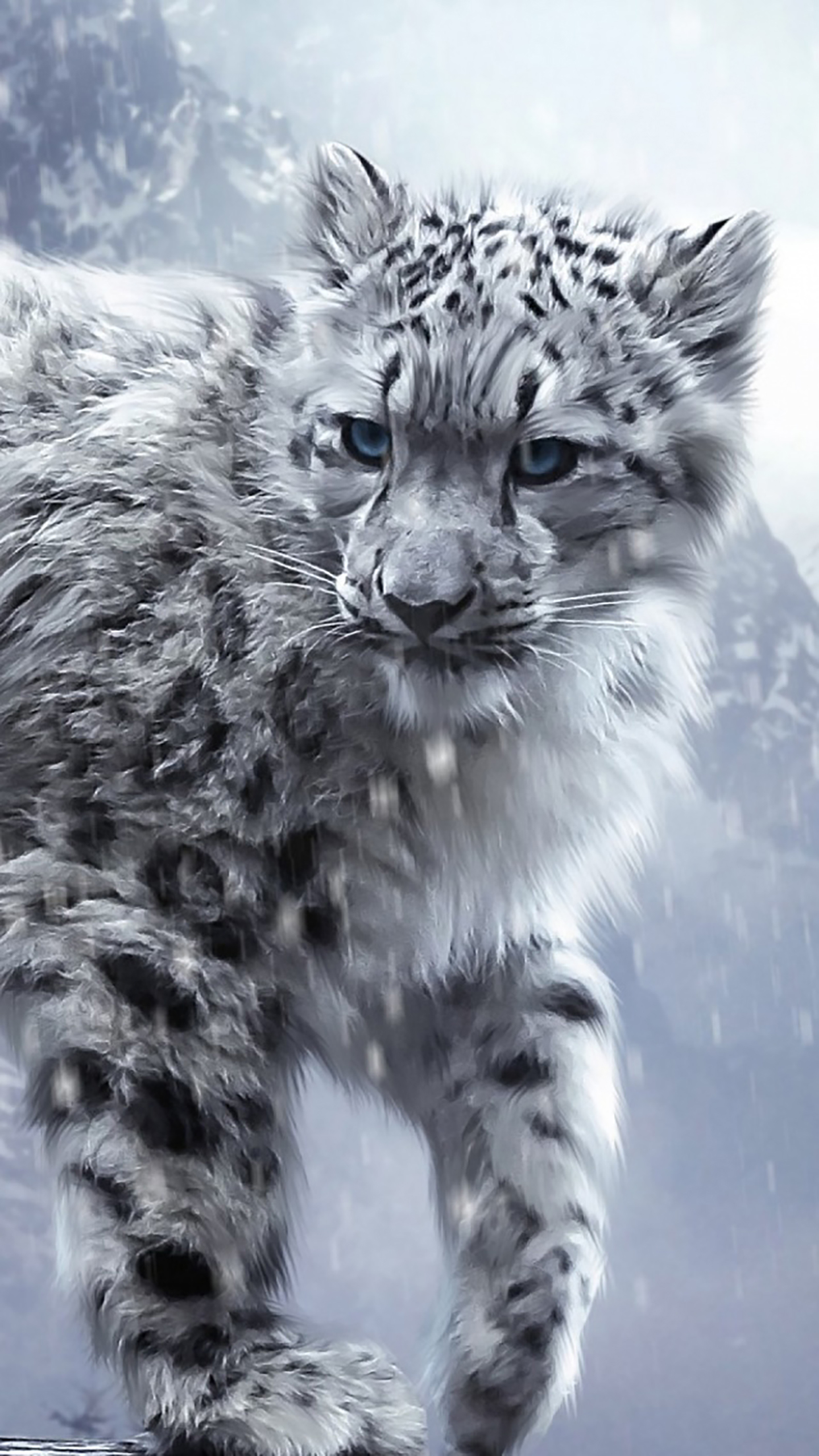 Snow animals leopard 3Wallpapers iPhone Parallax Snow animals leopard