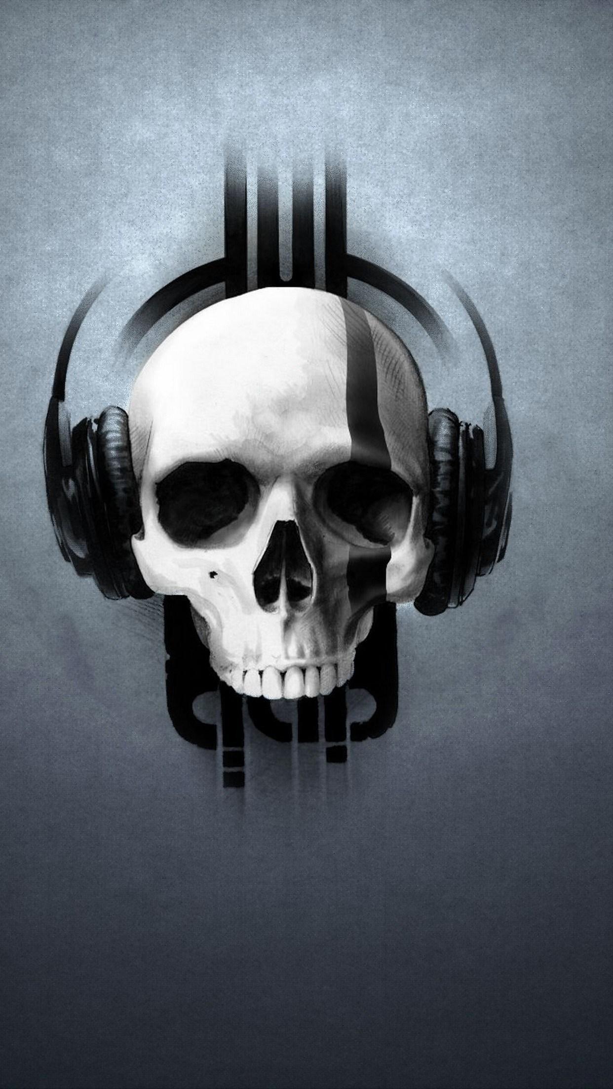 music skull 3Wallpapers iPhone Parallax Music Skull