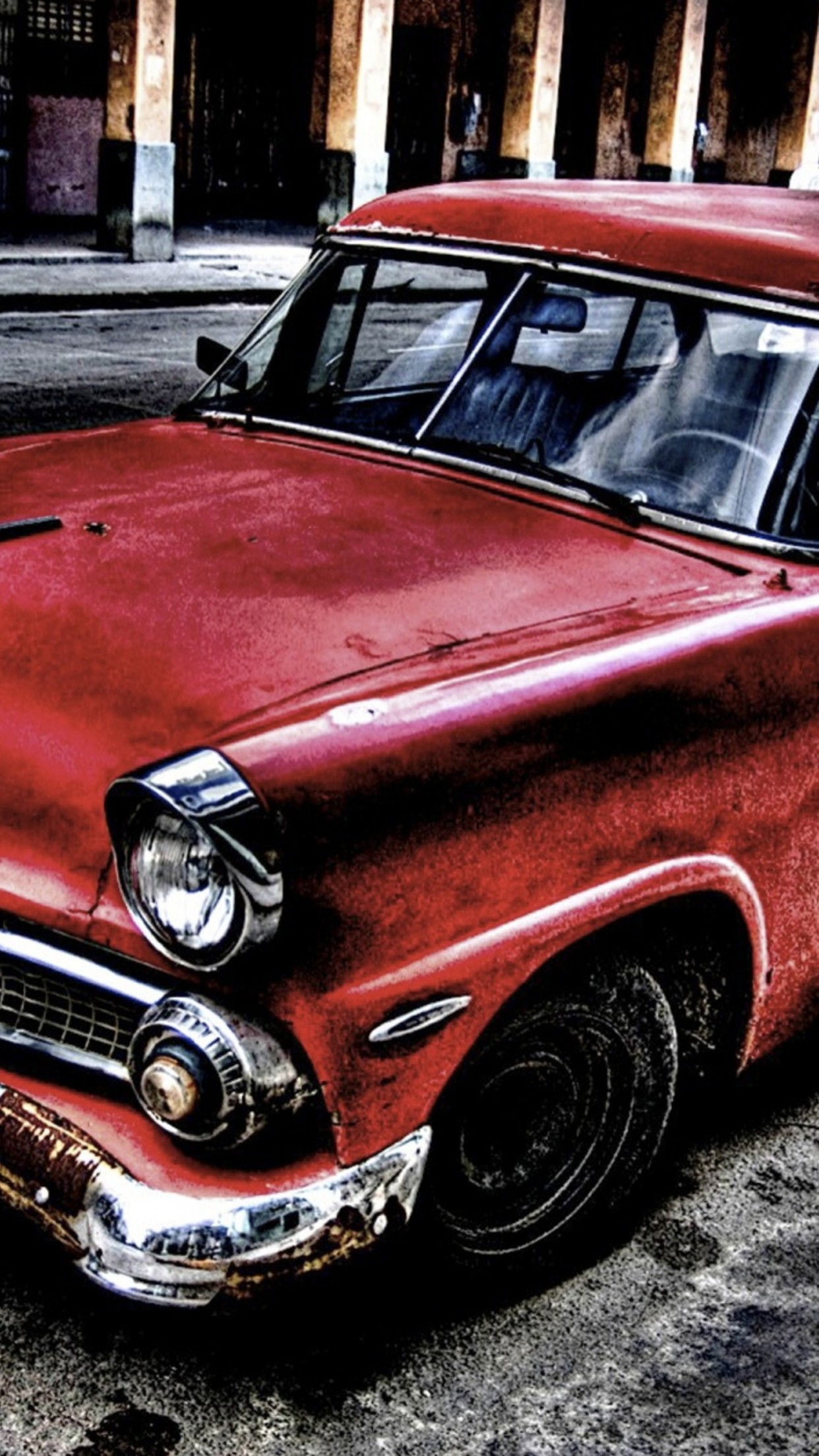 Old Car Red Wallpaper For Iphone X 8 7 6 Free Download On