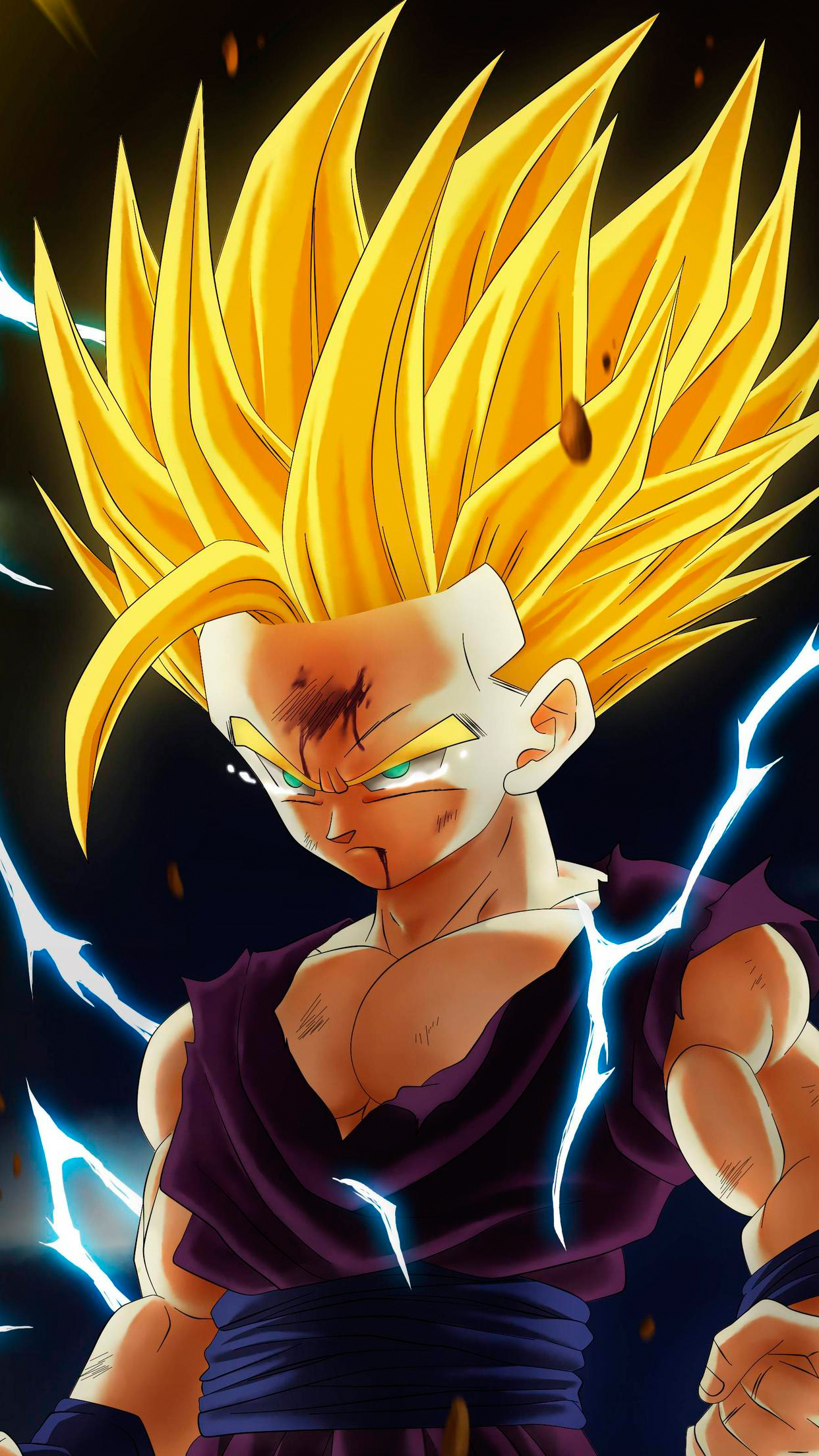 Dragon ball gohan wallpaper for iphone x 8 7 6 free for Fond ecran dbz
