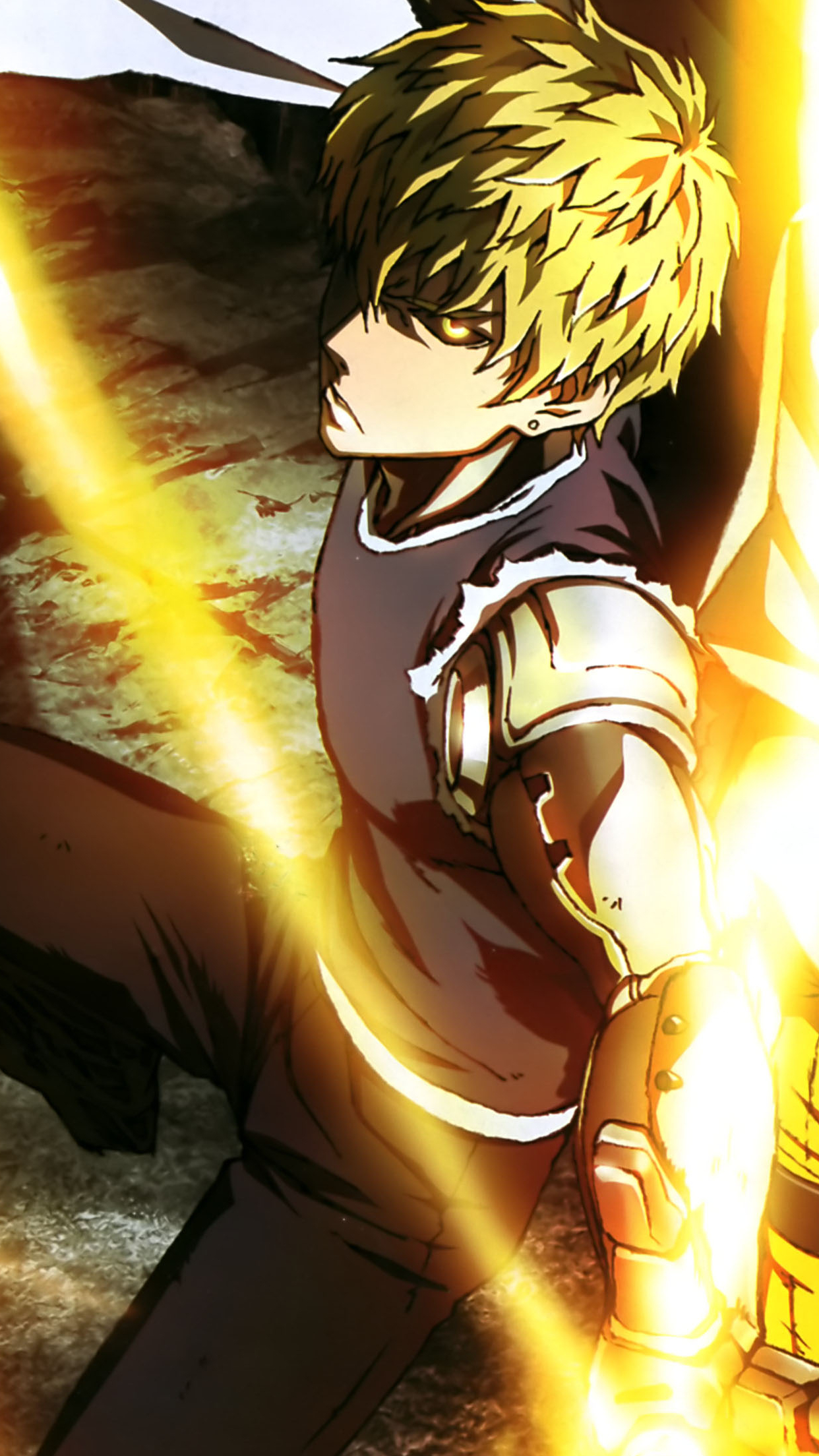 One punch man genos wallpaper for iphone x 8 7 6 free for Ecran graphisme