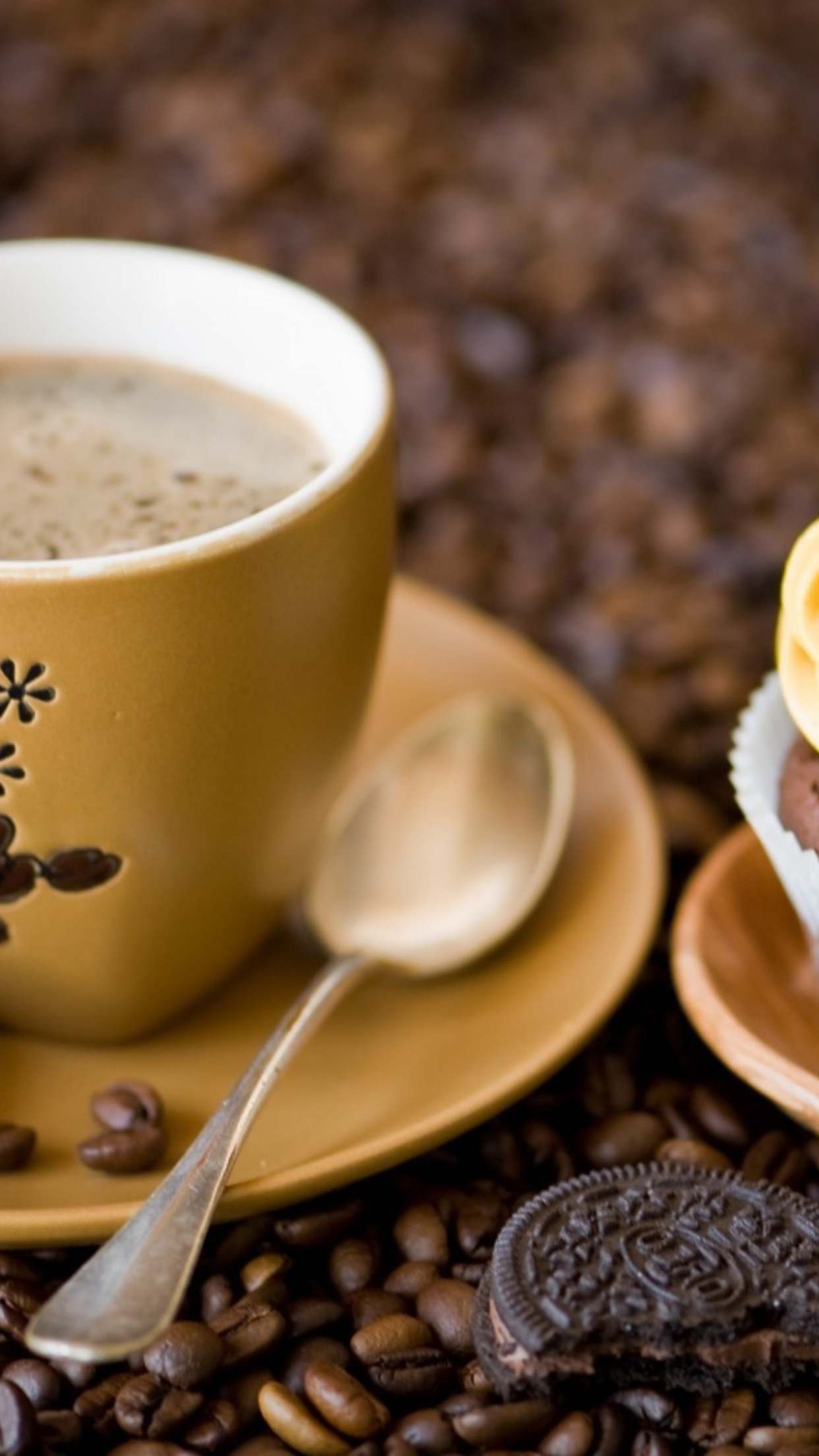 food coffee oreo 3Wallpapers iPhone Parallax Les 3Wallpapers iPhone du jour (13/02/2016)
