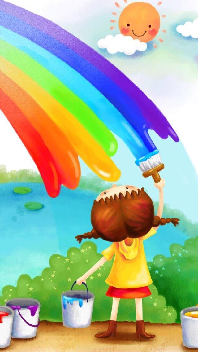 Rainbow Rainbow 1 3Wallpapers iPhone Parallax Rainbow 1