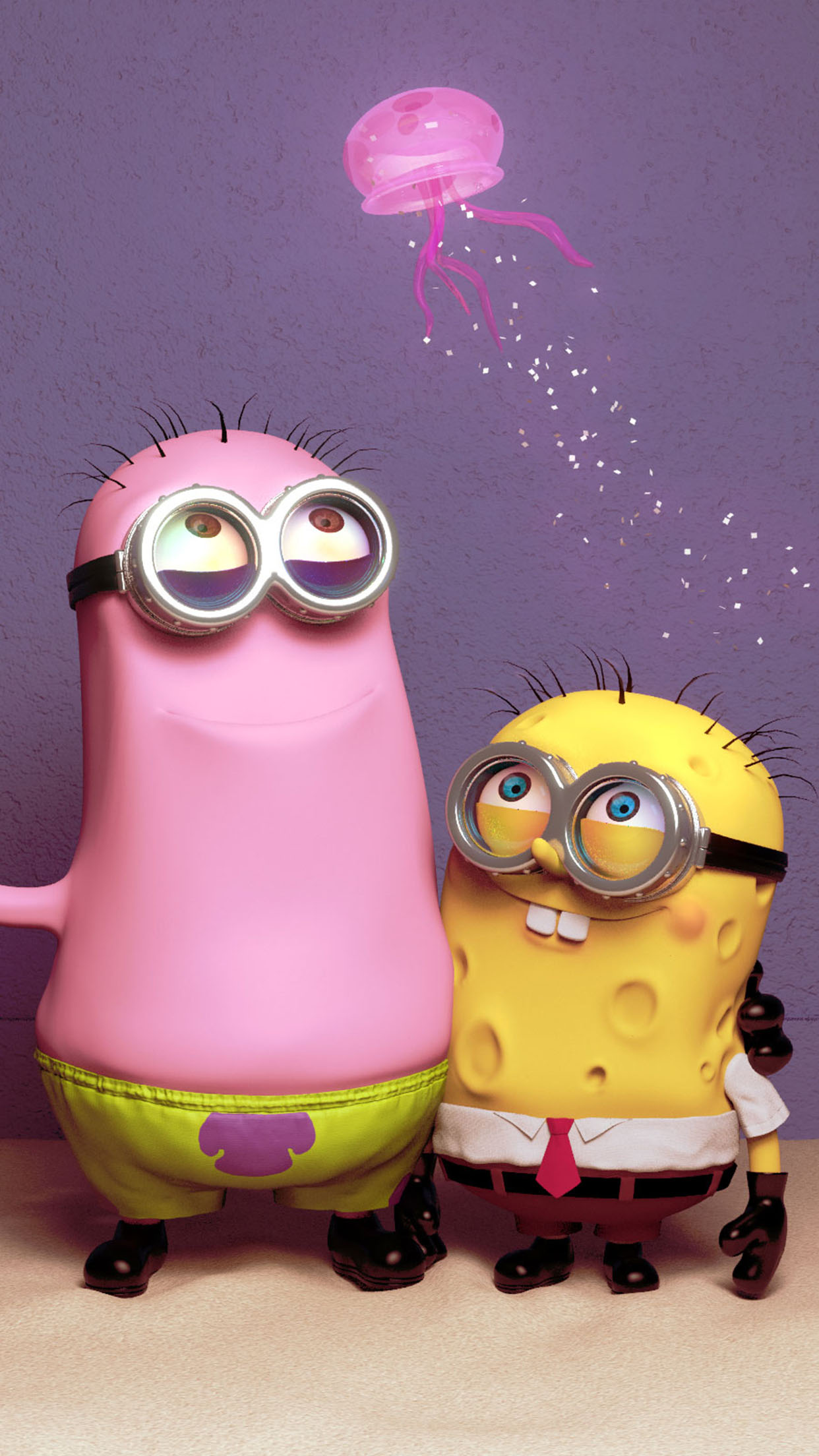 Despicable Me Sponge and Patrick 3Wallpapers iPhone Parallax Despicable Me art: Sponge and Patrick