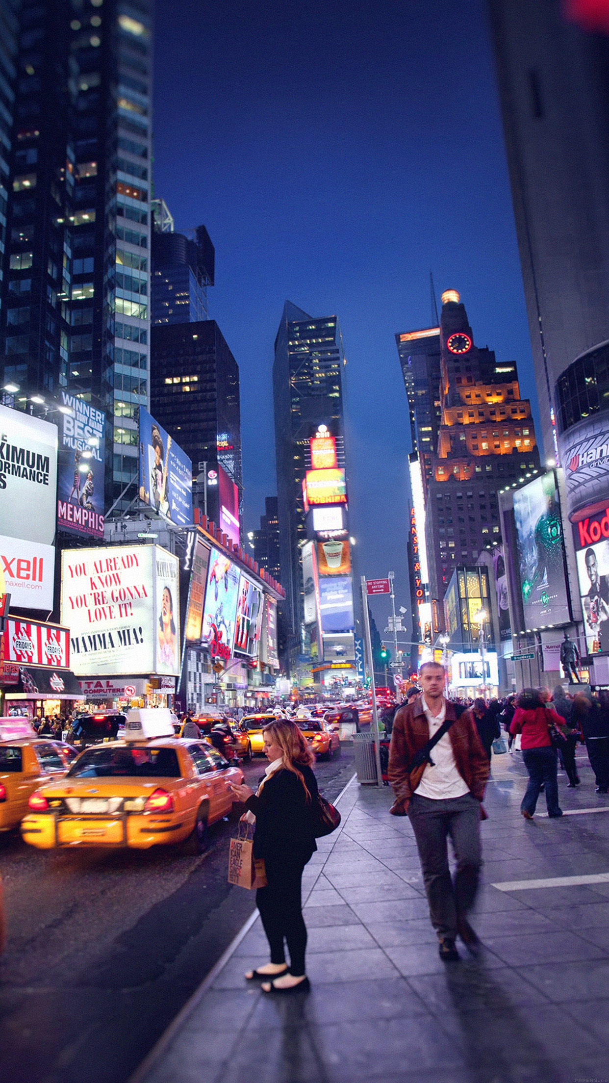 New York New York Street Night City 3Wallpapers iPhone Parallax New York Street Night City