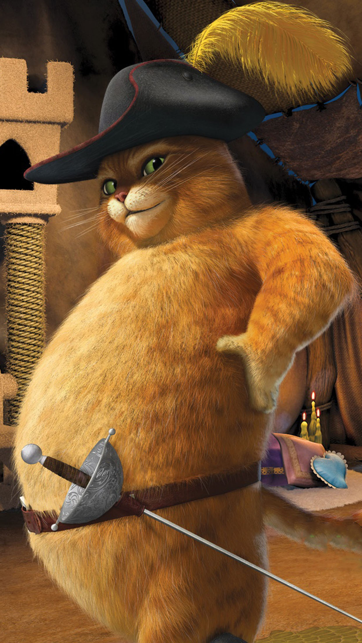 Shrek Puss in boots 3Wallpapers iPhone Parallax Puss in boots