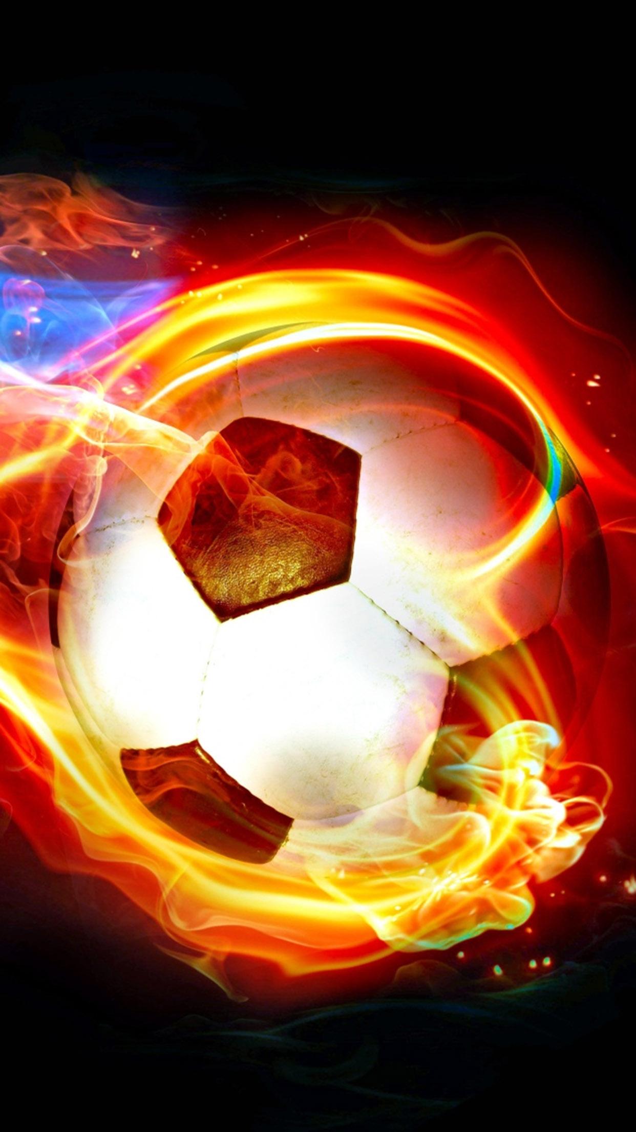 Football Fire ball 3Wallpapers iPhone Parallax Football: Fire ball