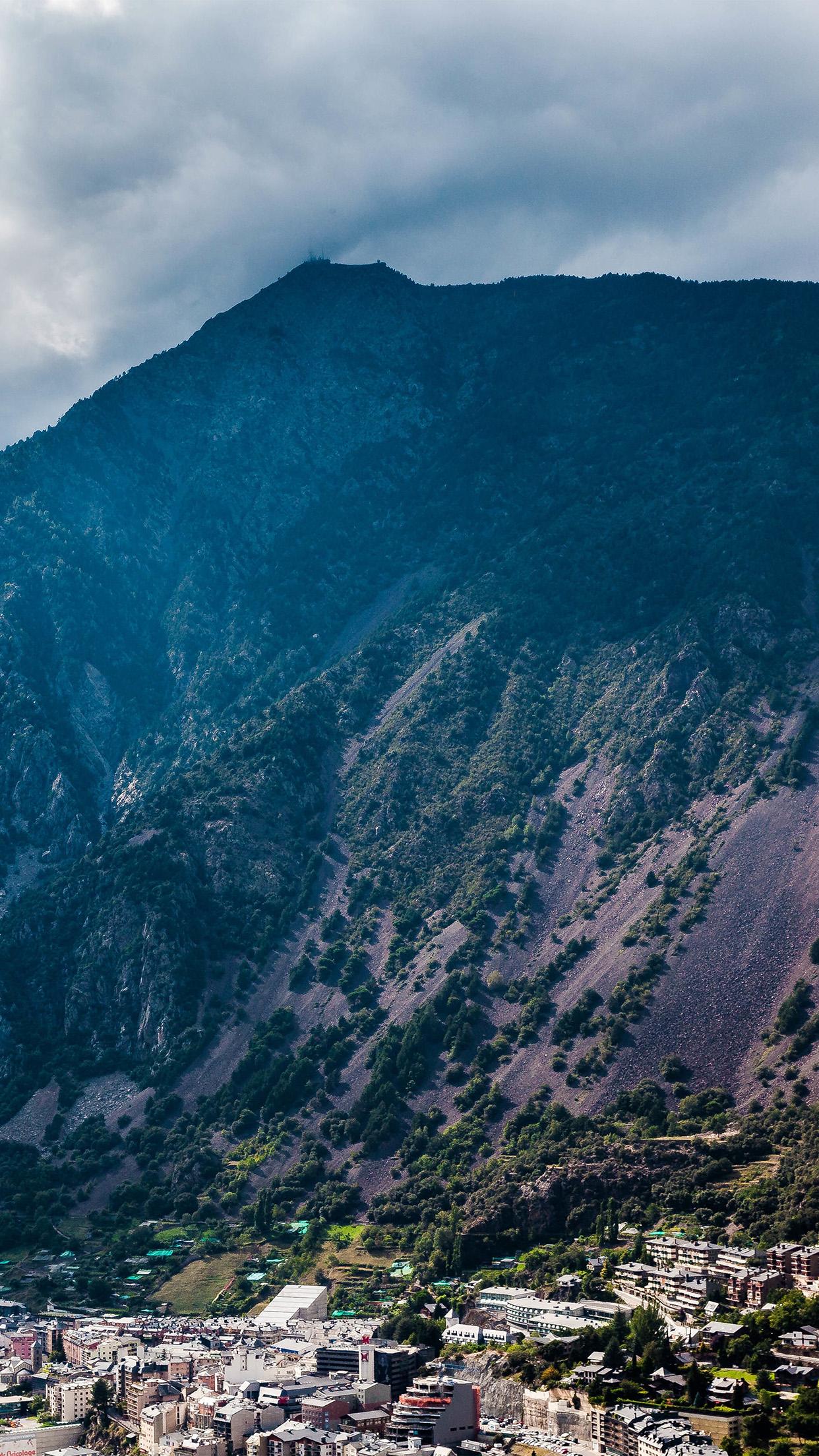 Mountain Mountain Rock Soil City Blue Summer 3Wallpapers iPhone Parallax Mountain: Rock Soil City blue summer