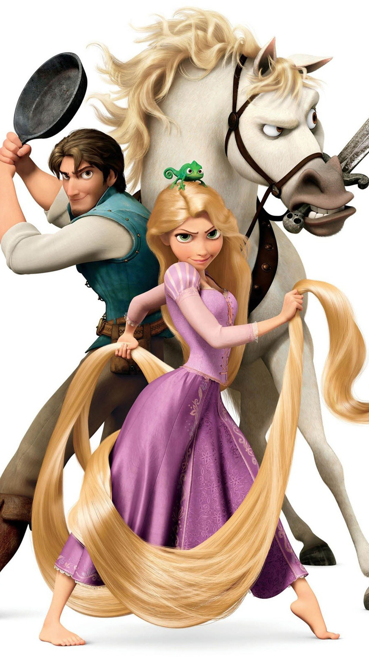 Tangled Rapunzel Flynn And Maximus Wallpaper For Iphone X