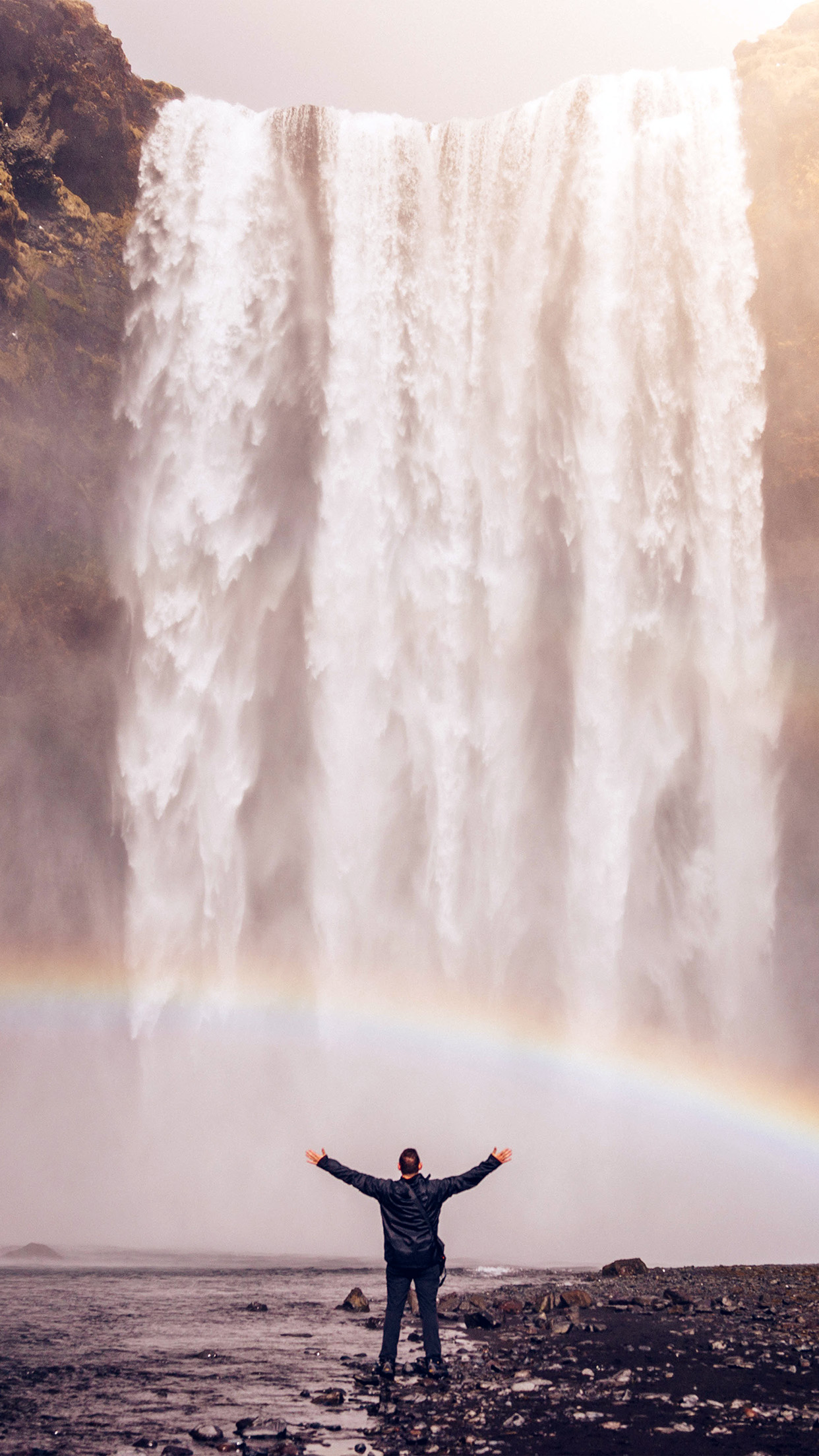 Waterfall Rainbow 3Wallpapers iPhone Parallax Waterfall: Rainbow