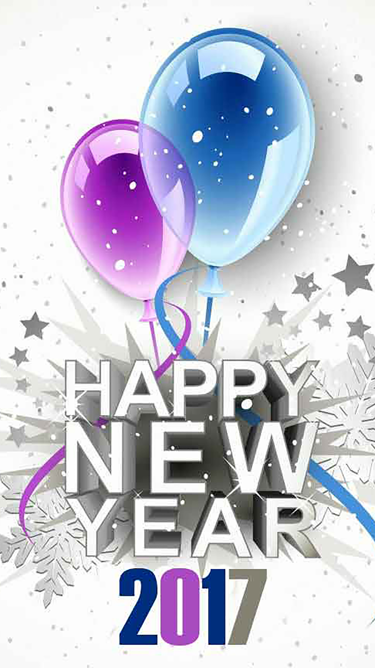 Happy New Year 1 3Wallpapers iPhone Parallax Happy New Year : Balloons