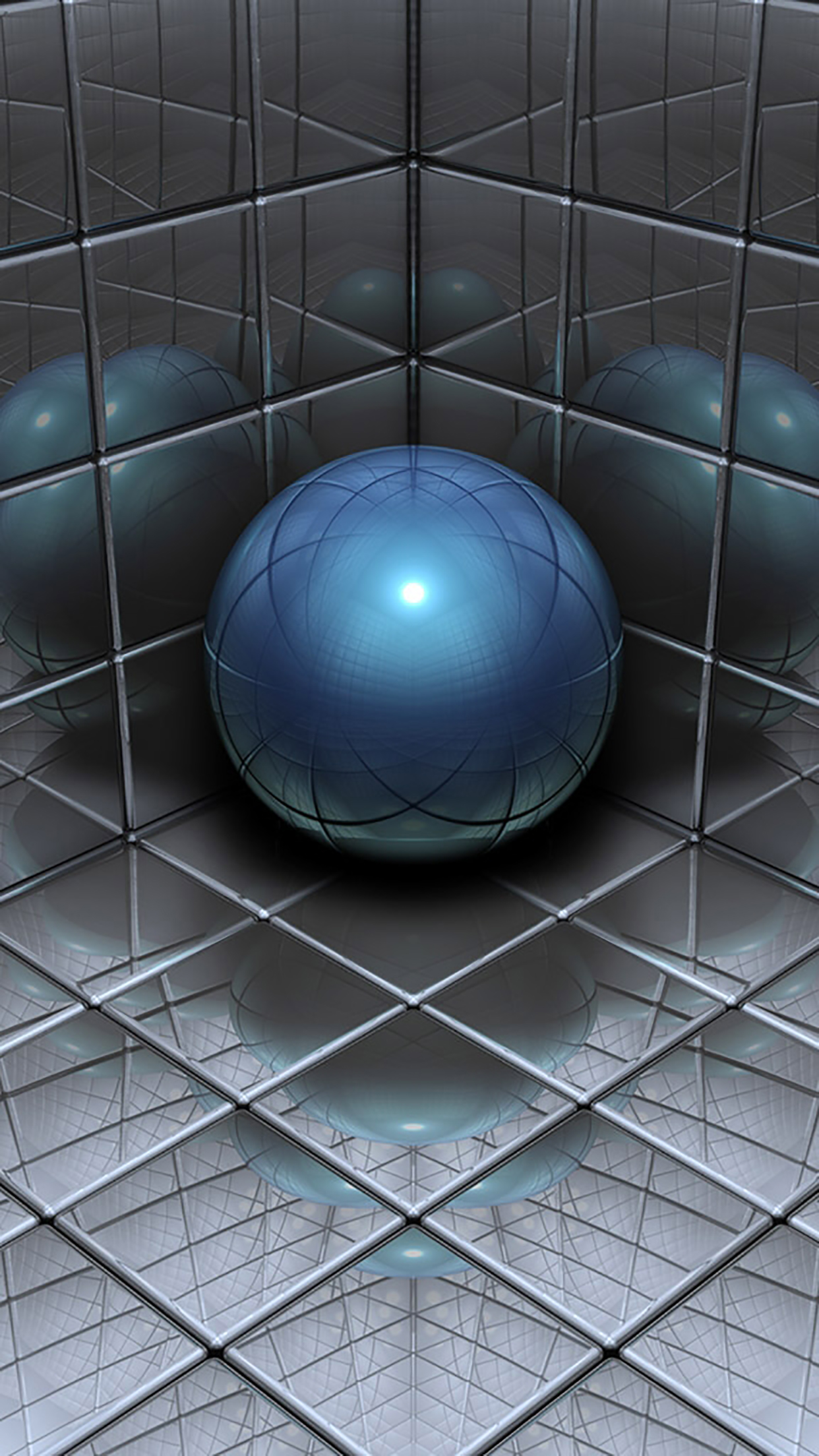 Metal Ball Reflet 3Wallpapers iPhone Parallax Metal Ball : Reflet