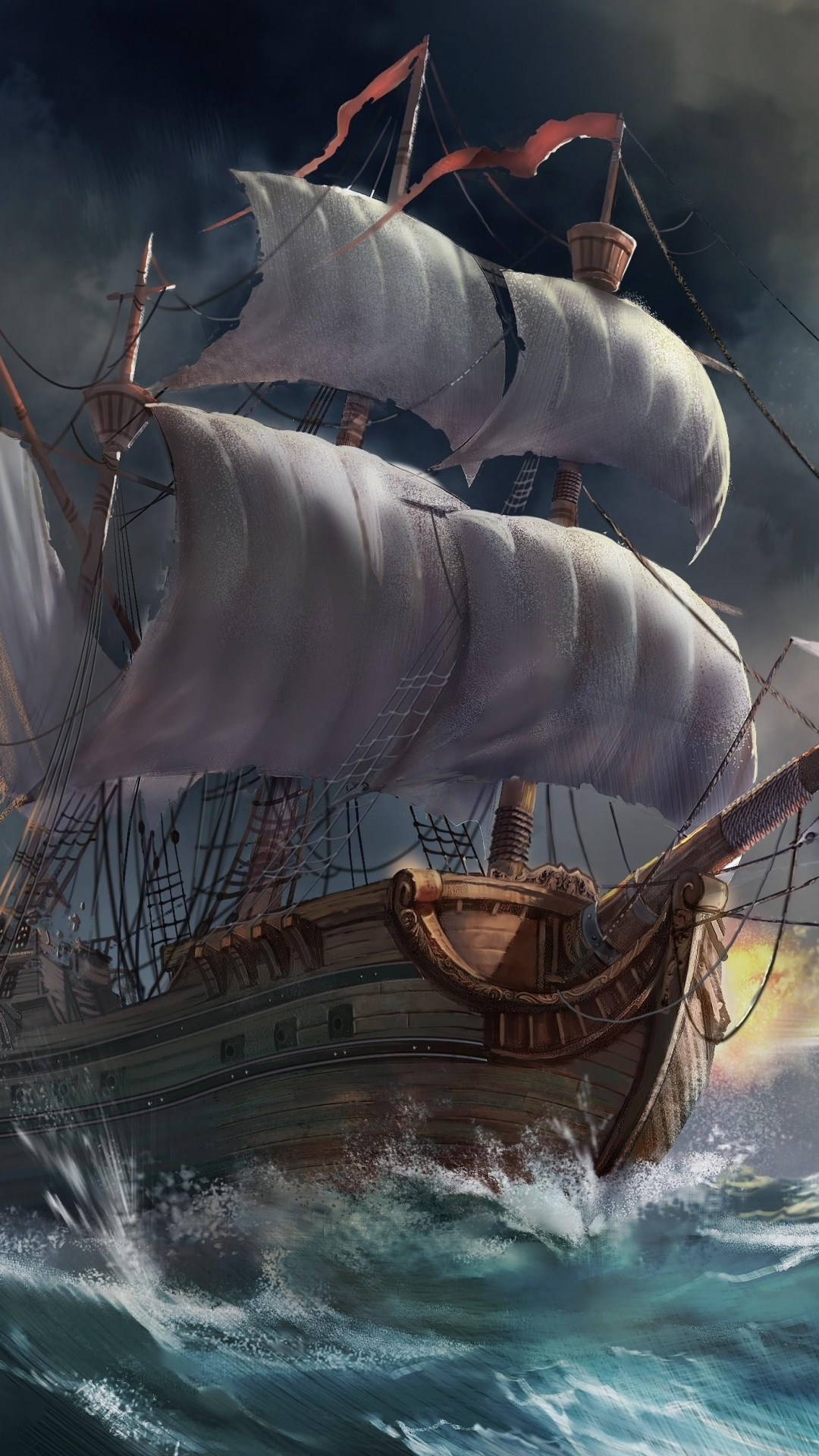 iphone wallpaper ships sea storm Ship