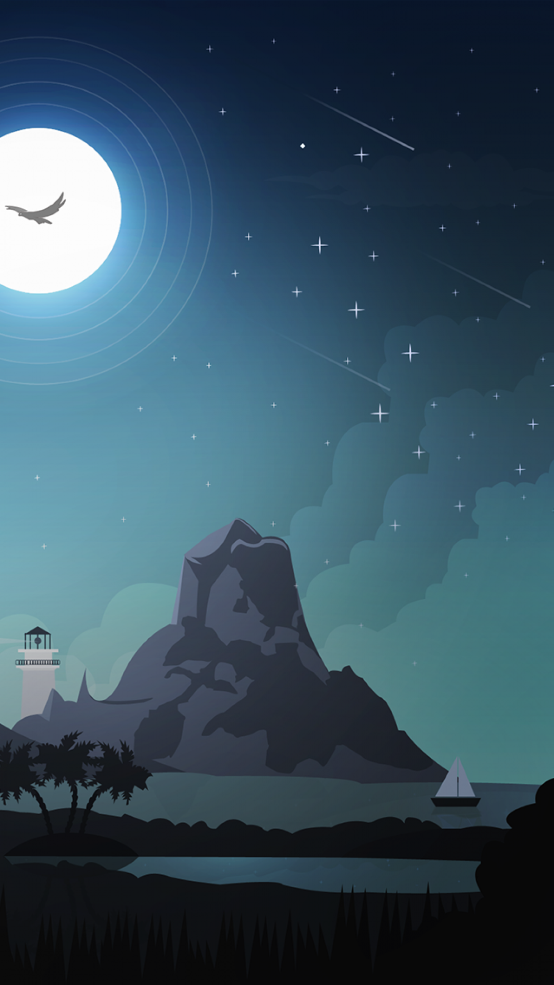 iPhone Wallpaper illustratuion night mountain Illustration