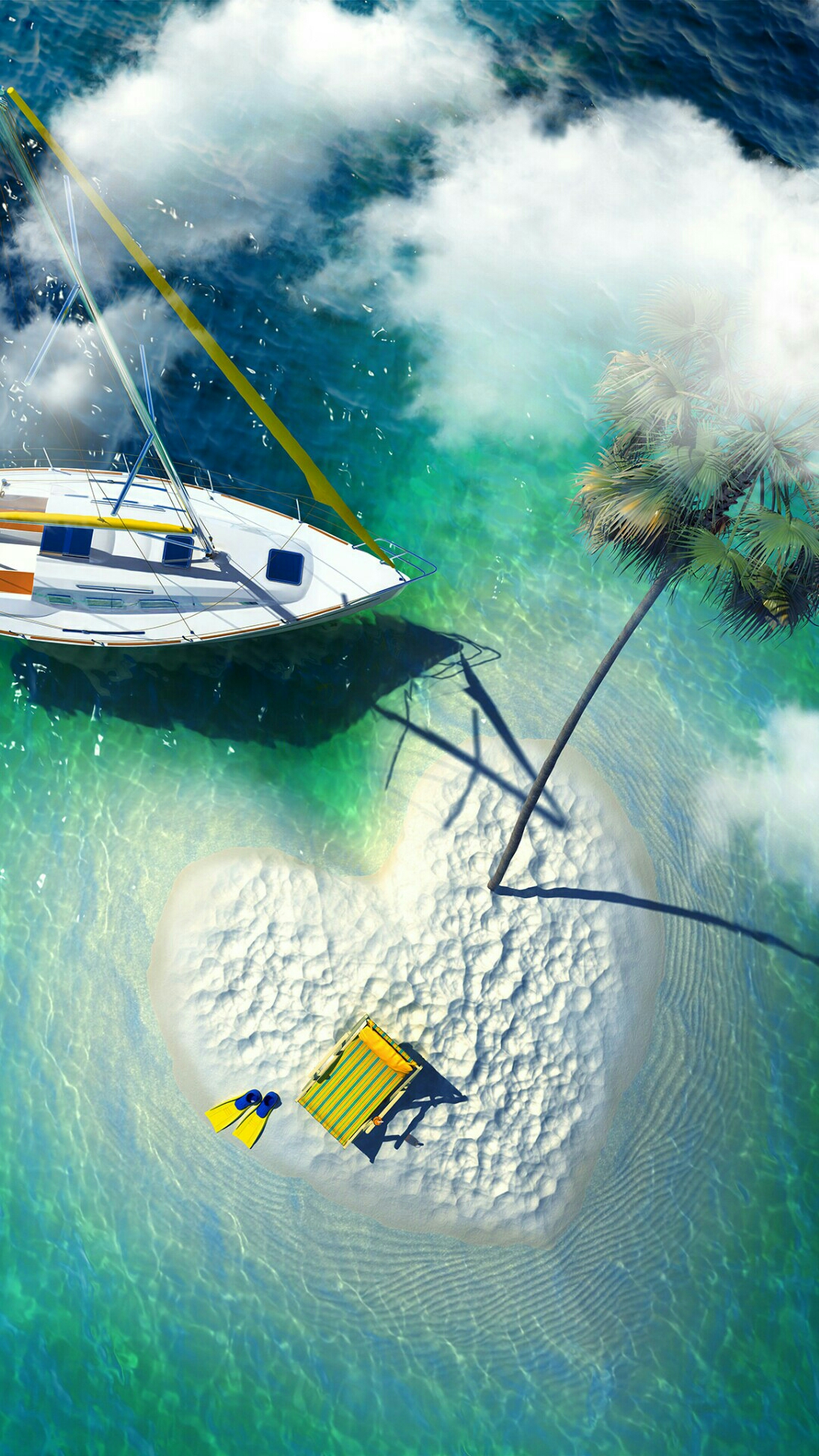 iPhone wallpaper island heart Island