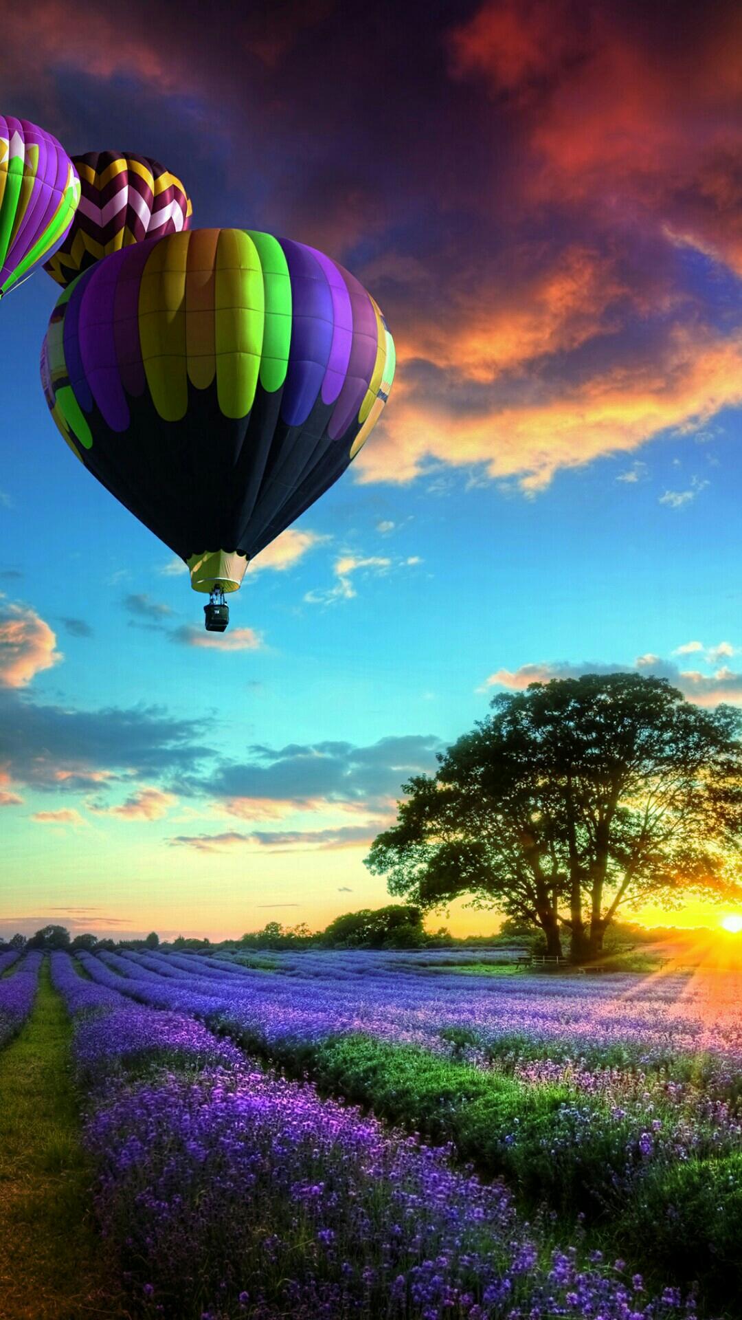 Iphone Wallpaper Balloon Sunset Balloons