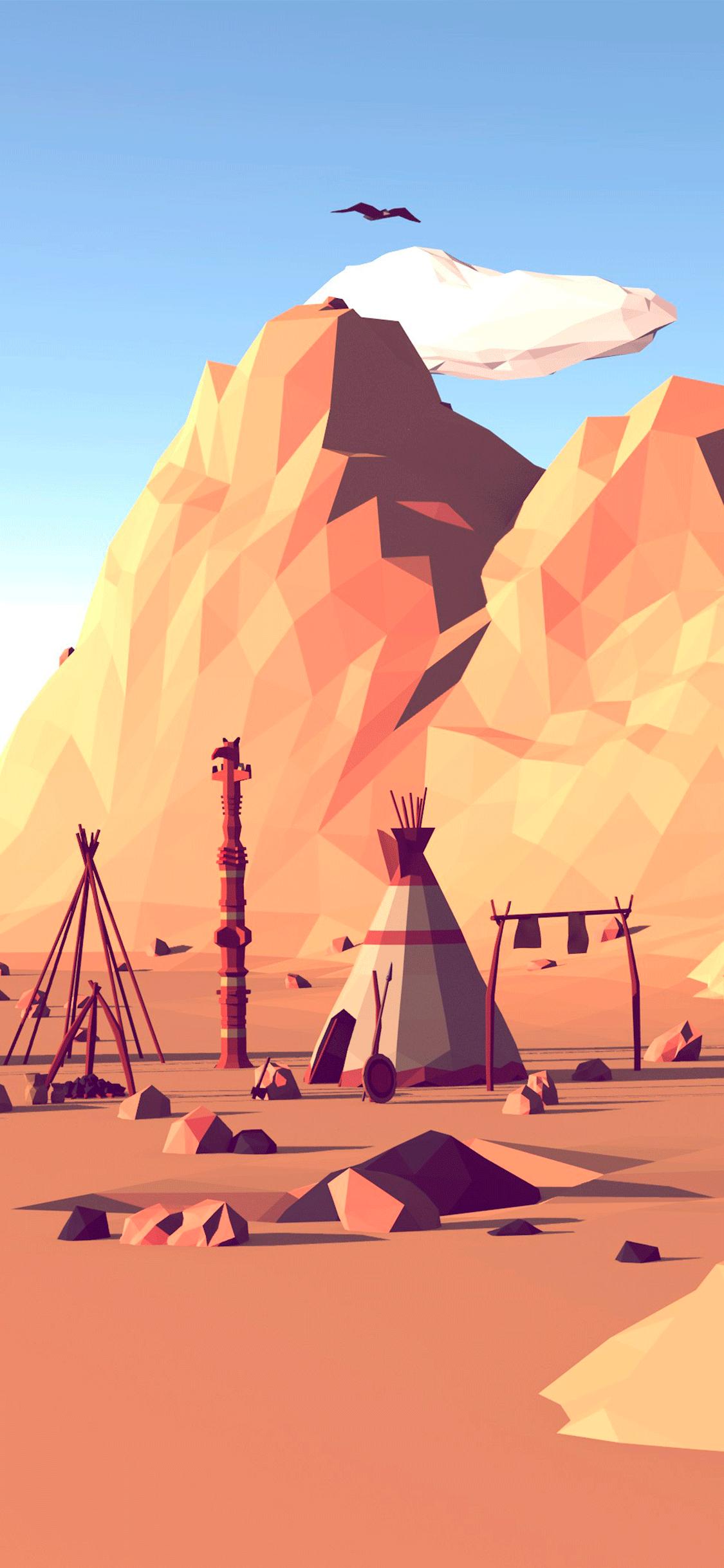 iPhone wallpaper illustration mountains Illustration