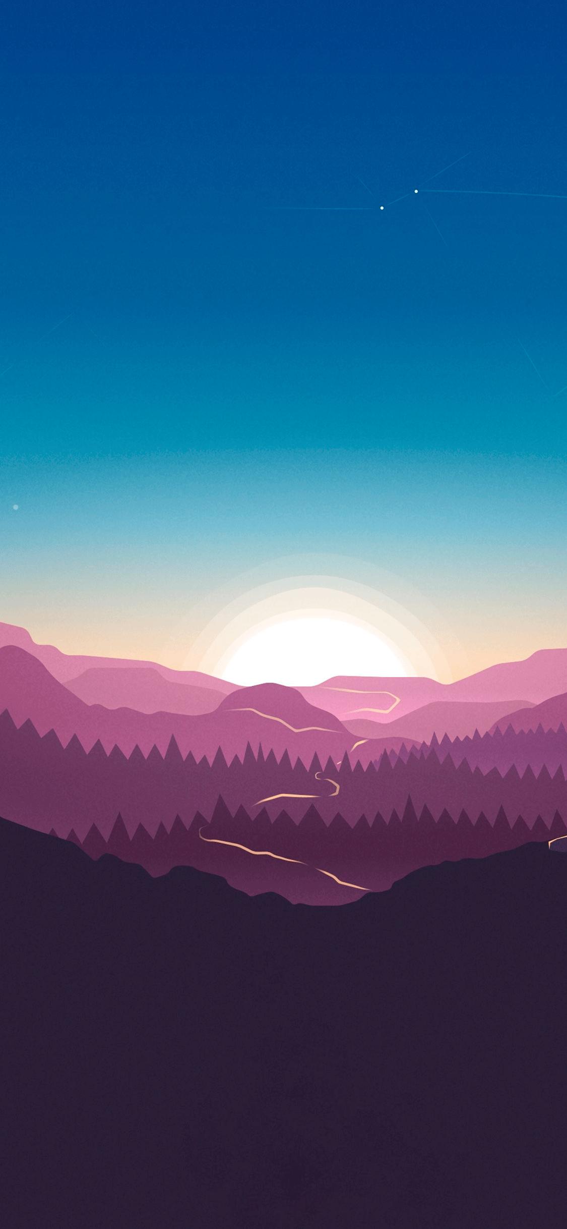 iPhone wallpaper illustration sunset Illustration