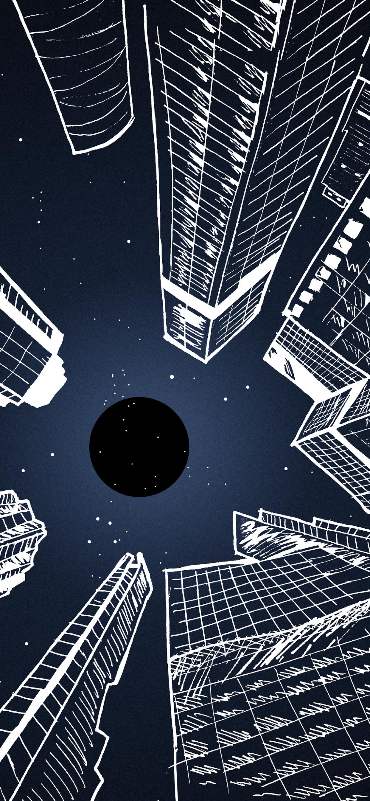 iPhone wallpapers illustration city night sky Fonds d'écran iPhone du 14/10/2019