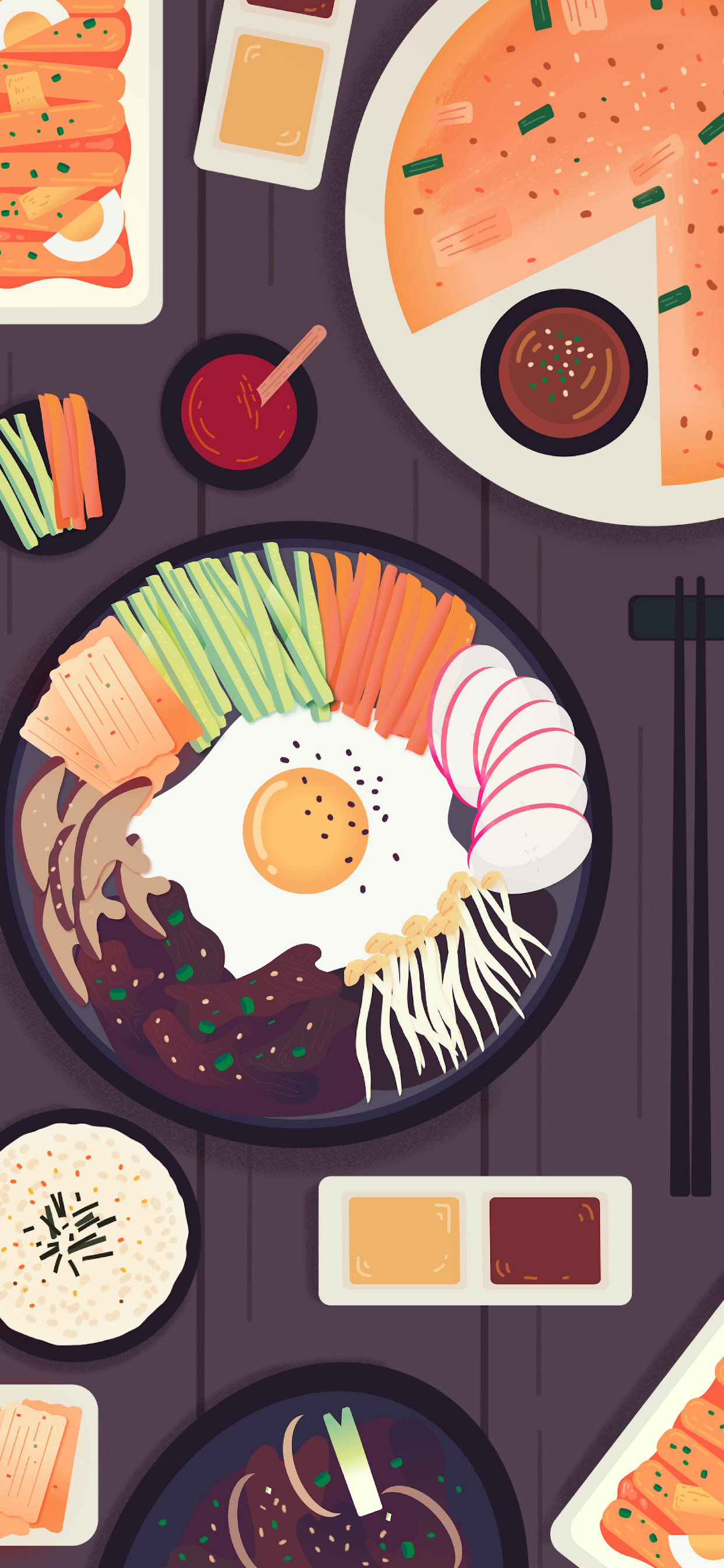 iPhone wallpapers illustration korean food Illustration