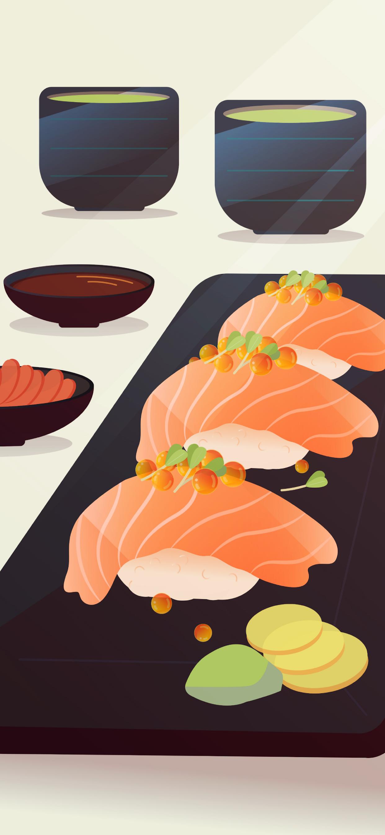 iPhone wallpapers illustration sushi tea Fonds d'écran iPhone du 21/10/2019