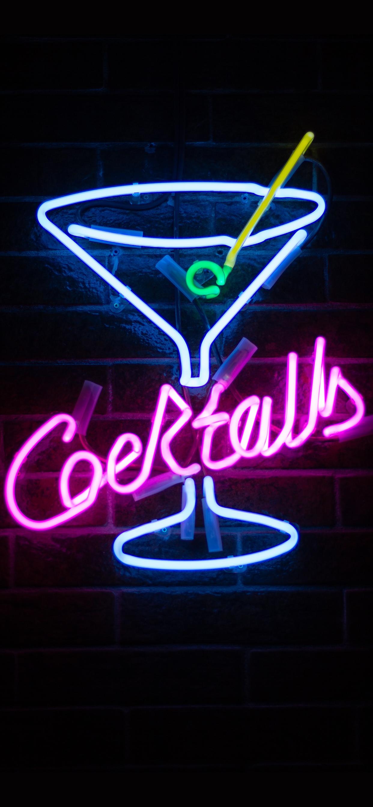iPhone wallpapers neon sign cocktails Fonds d'écran iPhone du 03/10/2019