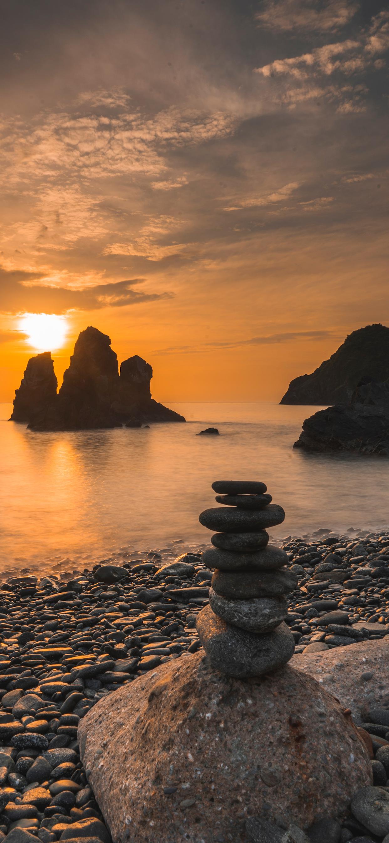 iPhone wallpapers stones ocean sunset Fonds d'écran iPhone du 11/10/2019