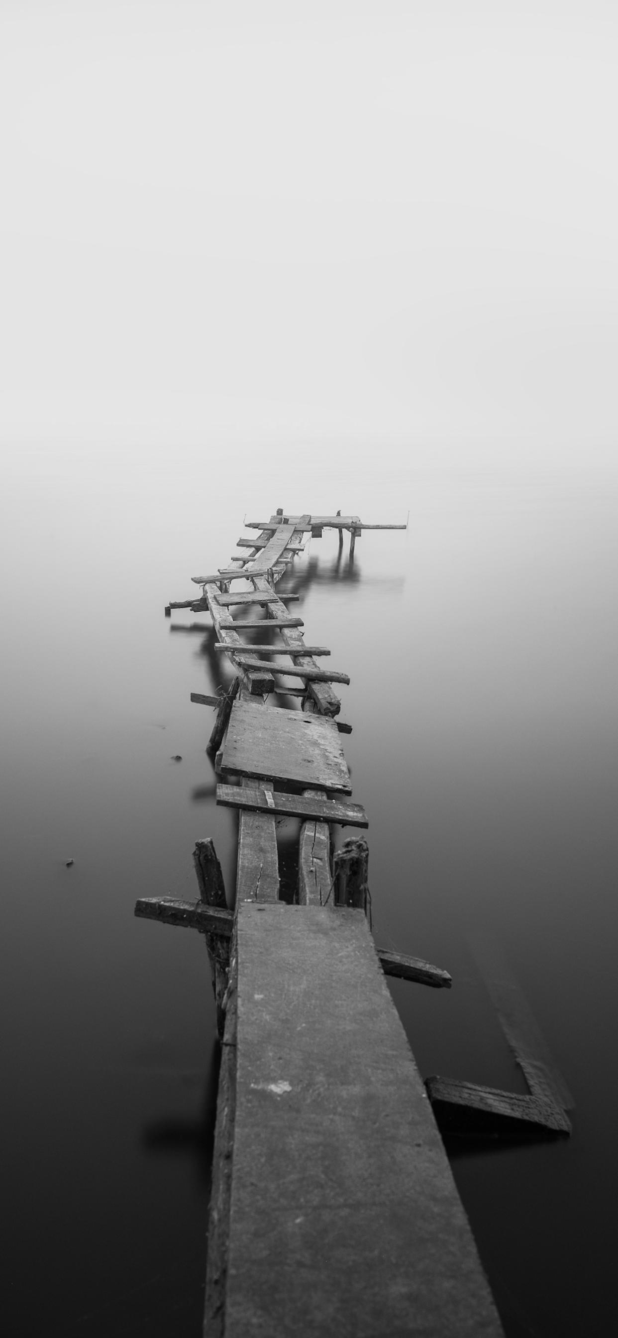 iPhone wallpapers black white bridge lake Fonds d'écran iPhone du 10/01/2020