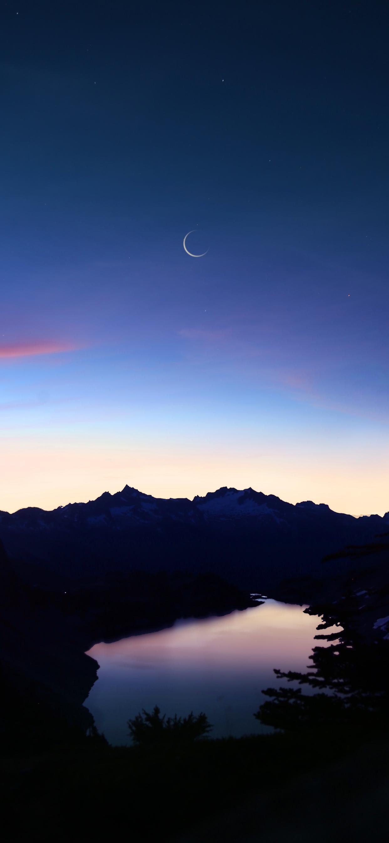 iPhone wallpapers moon hidden lake Fonds d'écran iPhone du 19/02/2020